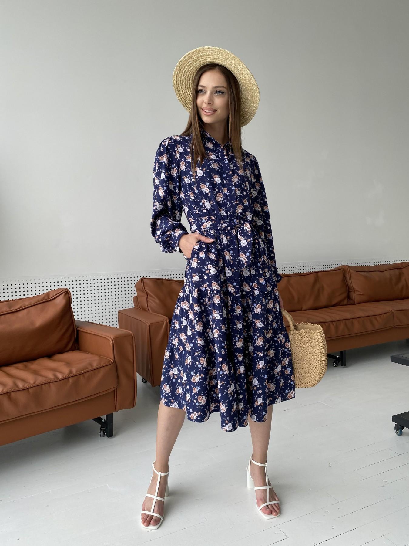 Лилия платье из софта с принтом 11108 АРТ. 47845 Цвет: Т.синий/Розочки - фото 7, интернет магазин tm-modus.ru