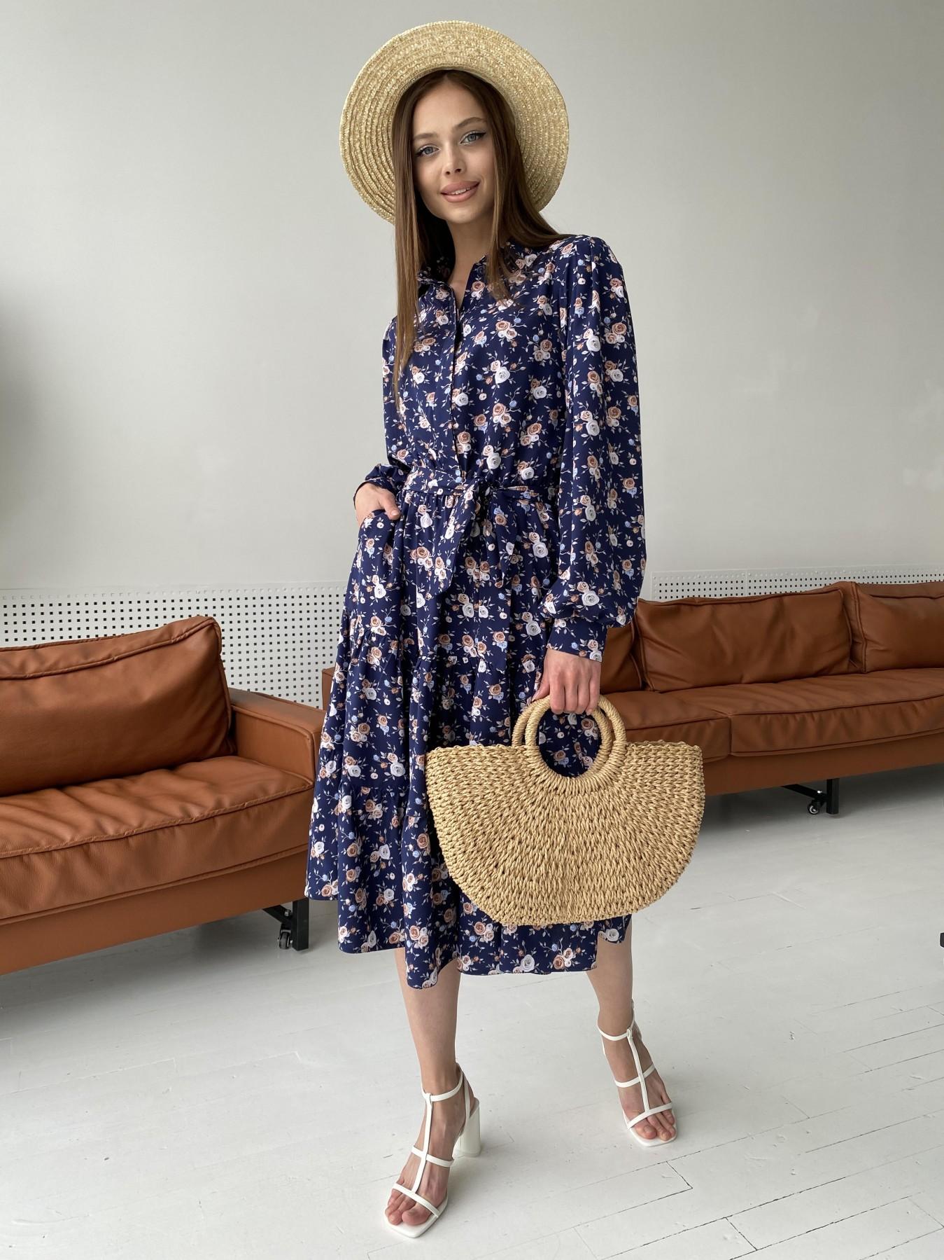 Лилия платье из софта с принтом 11108 АРТ. 47845 Цвет: Т.синий/Розочки - фото 8, интернет магазин tm-modus.ru