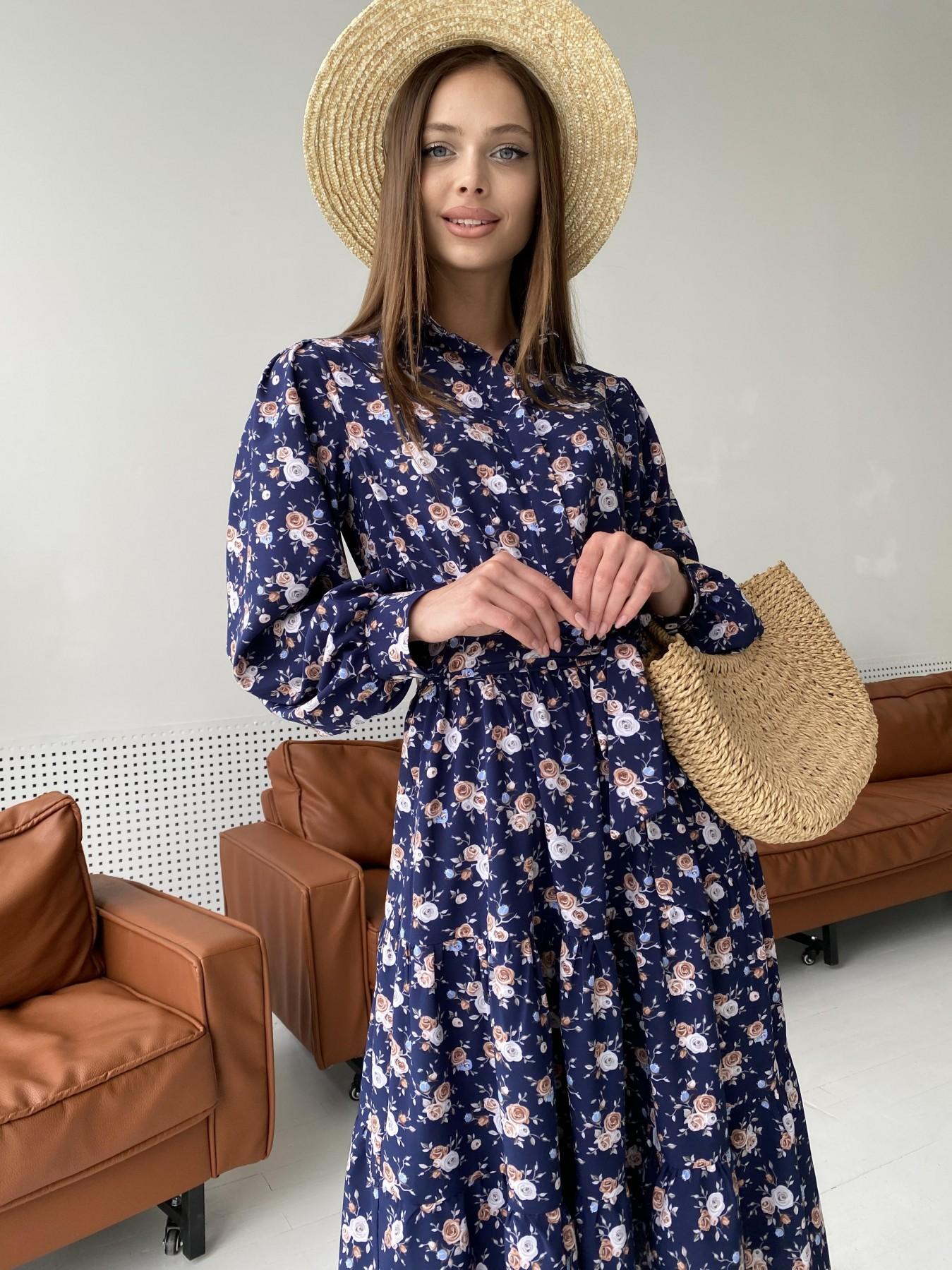 Лилия платье из софта с принтом 11108 АРТ. 47845 Цвет: Т.синий/Розочки - фото 9, интернет магазин tm-modus.ru