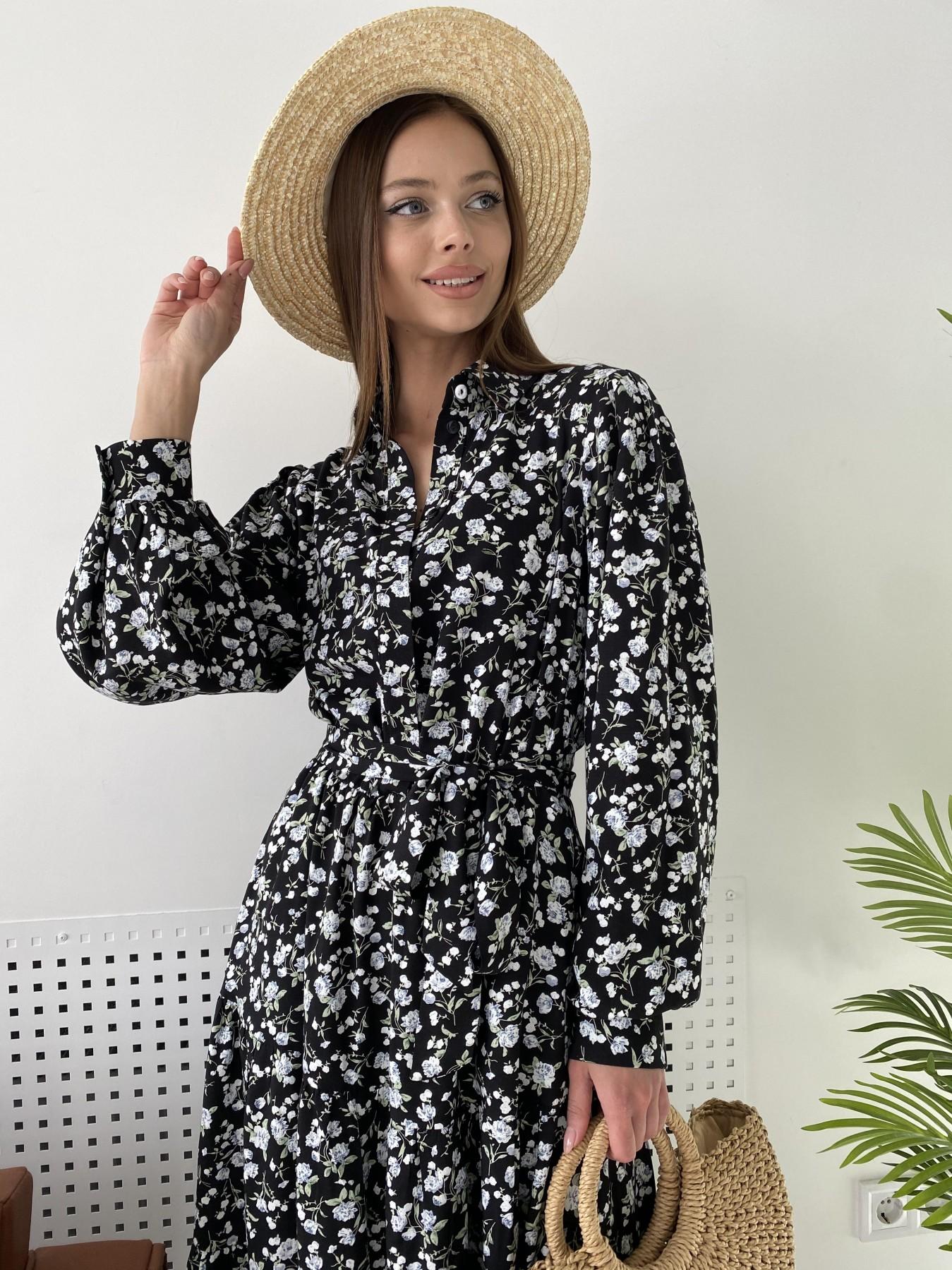 Лилия платье из вискозы и льна в принт 11313 АРТ. 47851 Цвет: Черный/ГолубаяХризантема - фото 4, интернет магазин tm-modus.ru