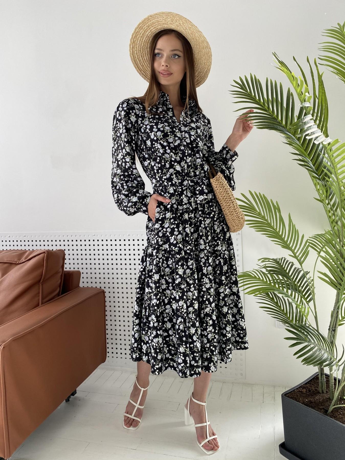 Платье оптом от производителя Modus Лилия платье из вискозы и льна в принт 11313