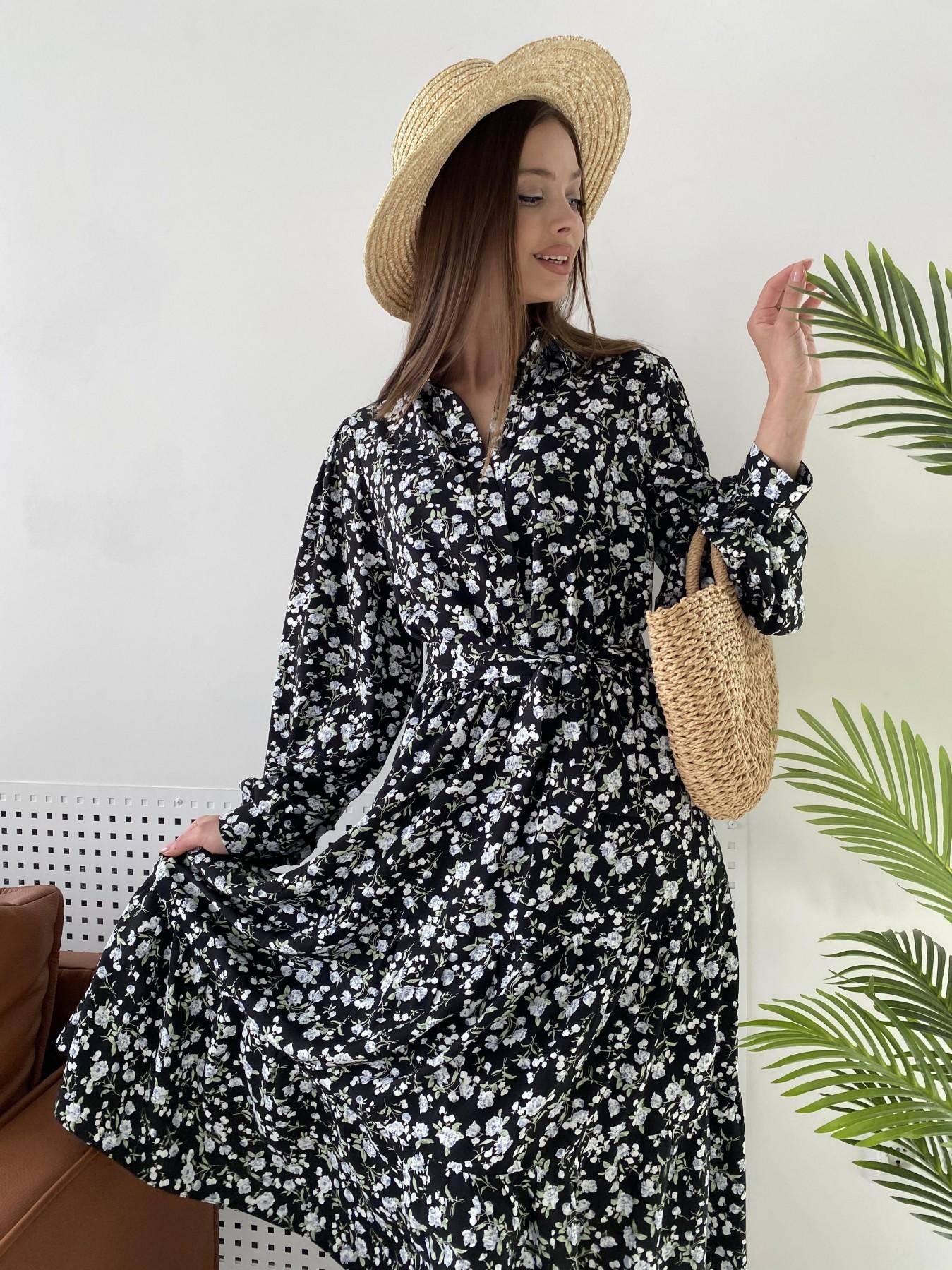 Лилия платье из вискозы и льна в принт 11313 АРТ. 47851 Цвет: Черный/ГолубаяХризантема - фото 7, интернет магазин tm-modus.ru