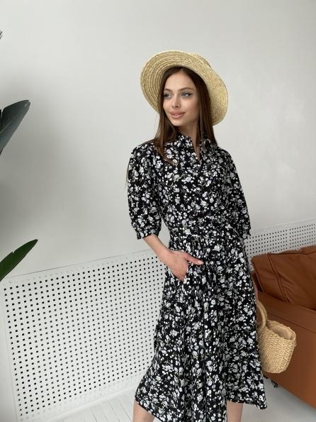 """Купить """"Жасмин"""" платье  из вискозы и льна в принт 11308 оптом и в розницу"""