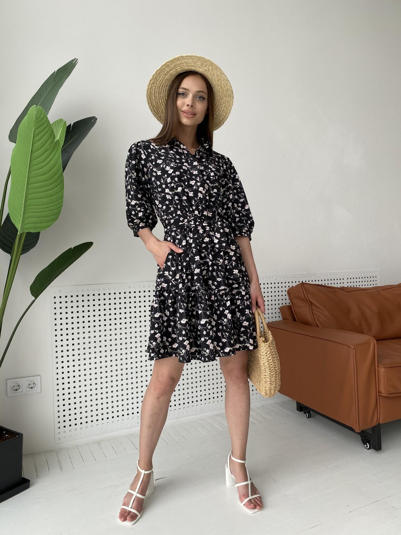 Молизе платье с коротким рукавом из софт ткани в принт 11315 АРТ. 47852 Цвет: Черный/молоко, Цветы - фото 2, интернет магазин tm-modus.ru