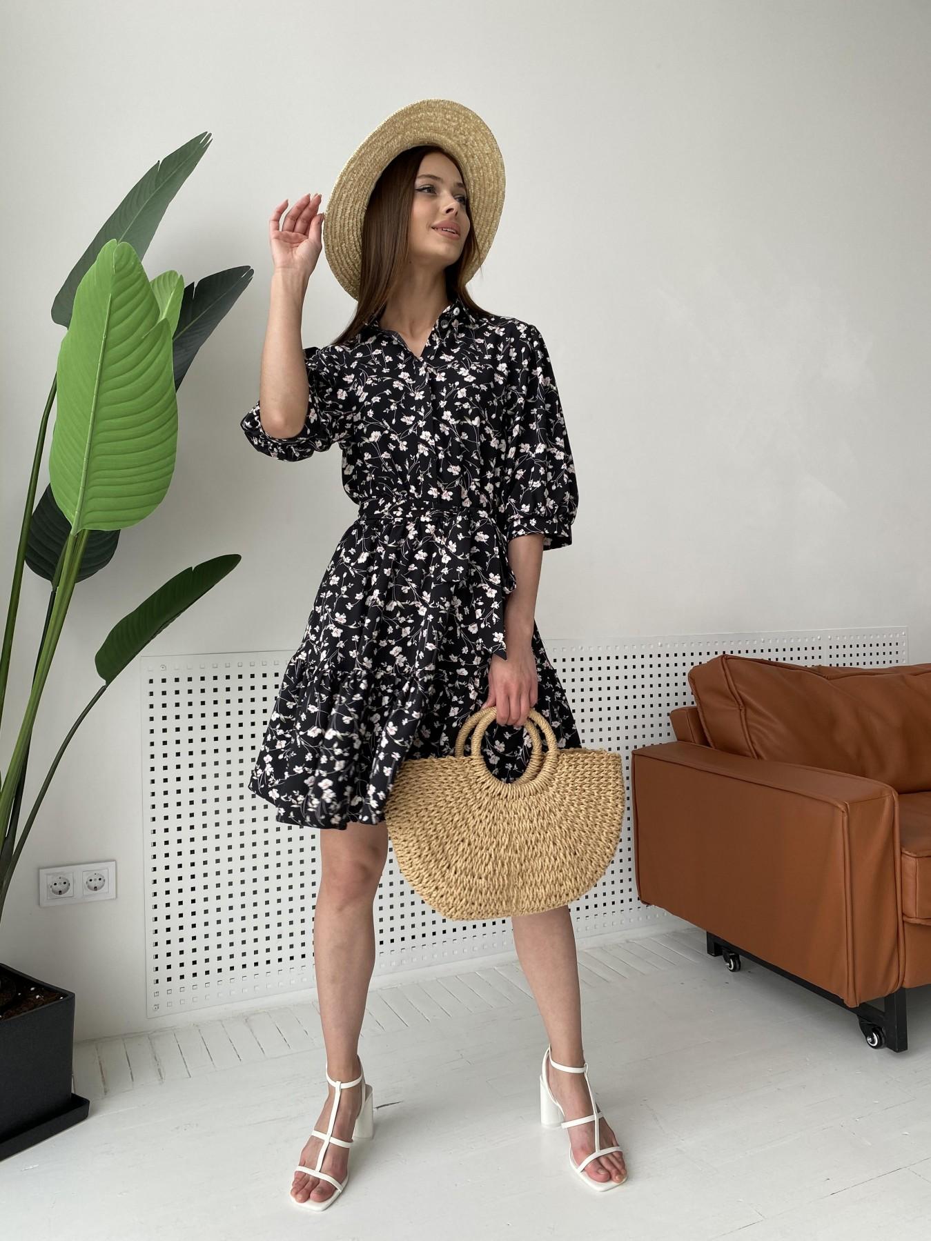 Молизе платье с коротким рукавом из софт ткани в принт 11315 АРТ. 47852 Цвет: Черный/молоко, Цветы - фото 3, интернет магазин tm-modus.ru