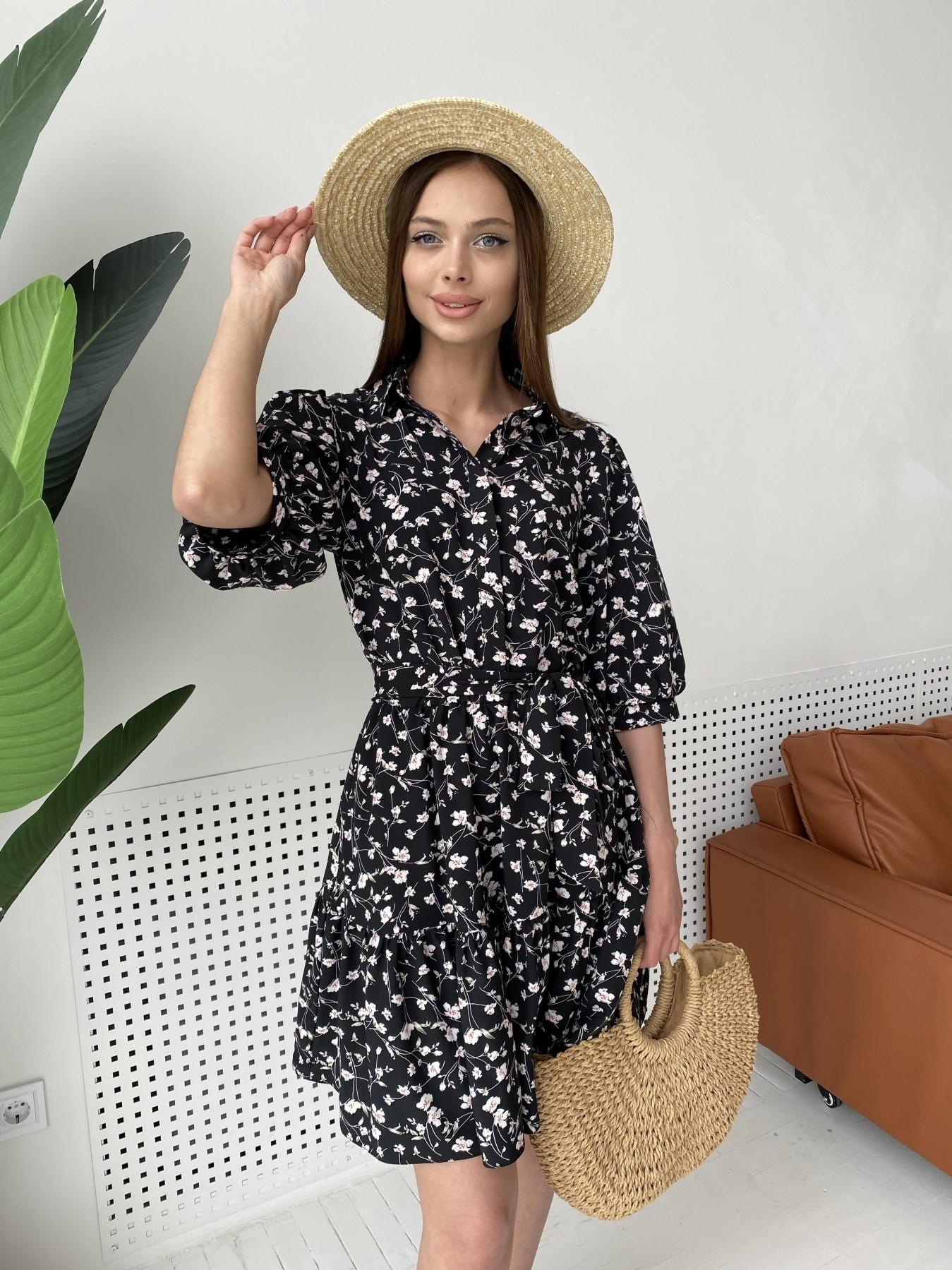 Платья Украина оптом от Модус Молизе платье с коротким рукавом из софт ткани в принт 11315