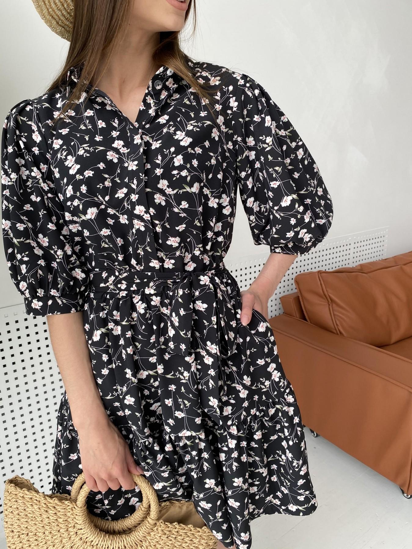 Молизе платье с коротким рукавом из софт ткани в принт 11315 АРТ. 47852 Цвет: Черный/молоко, Цветы - фото 5, интернет магазин tm-modus.ru