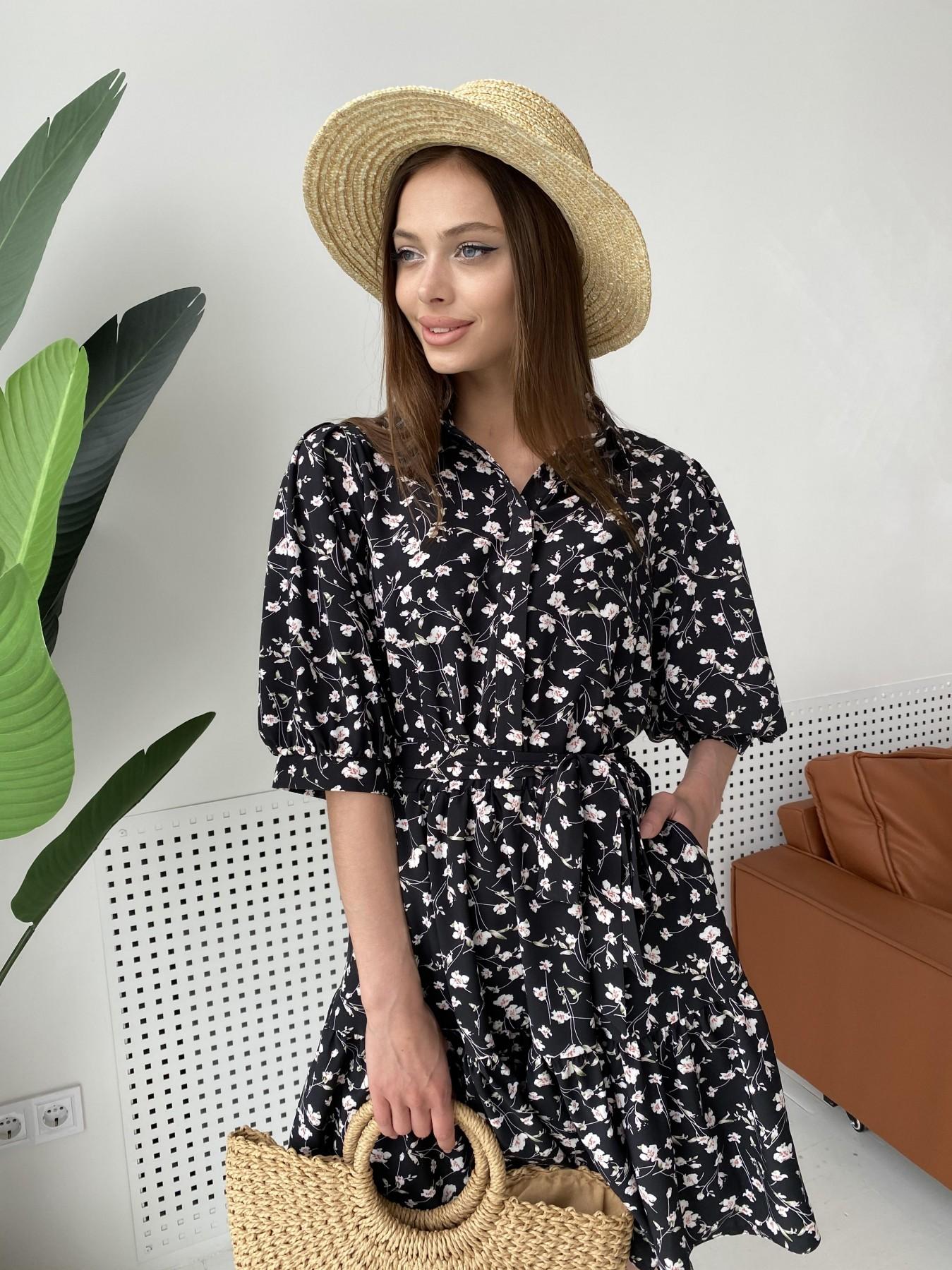 Молизе платье с коротким рукавом из софт ткани в принт 11315 АРТ. 47852 Цвет: Черный/молоко, Цветы - фото 6, интернет магазин tm-modus.ru