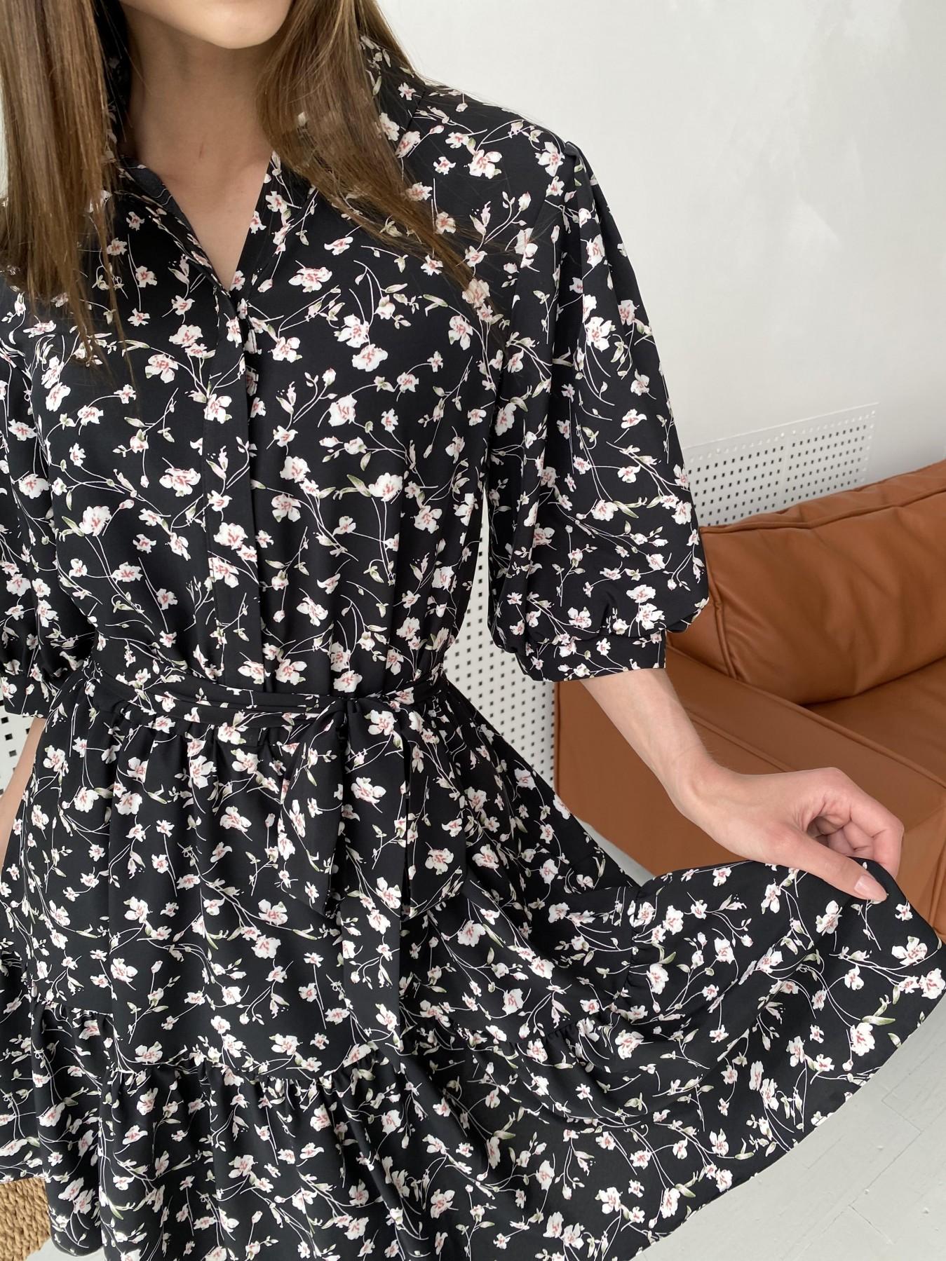 Молизе платье с коротким рукавом из софт ткани в принт 11315 АРТ. 47852 Цвет: Черный/молоко, Цветы - фото 7, интернет магазин tm-modus.ru
