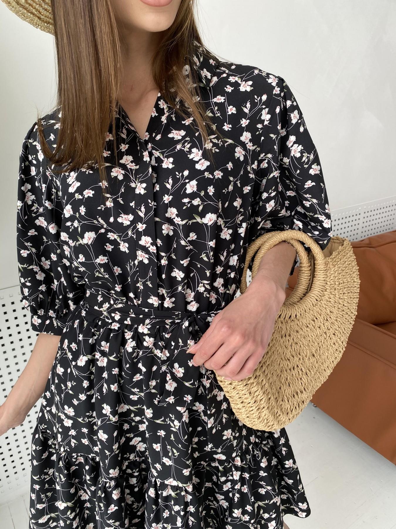 Молизе платье с коротким рукавом из софт ткани в принт 11315 АРТ. 47852 Цвет: Черный/молоко, Цветы - фото 8, интернет магазин tm-modus.ru