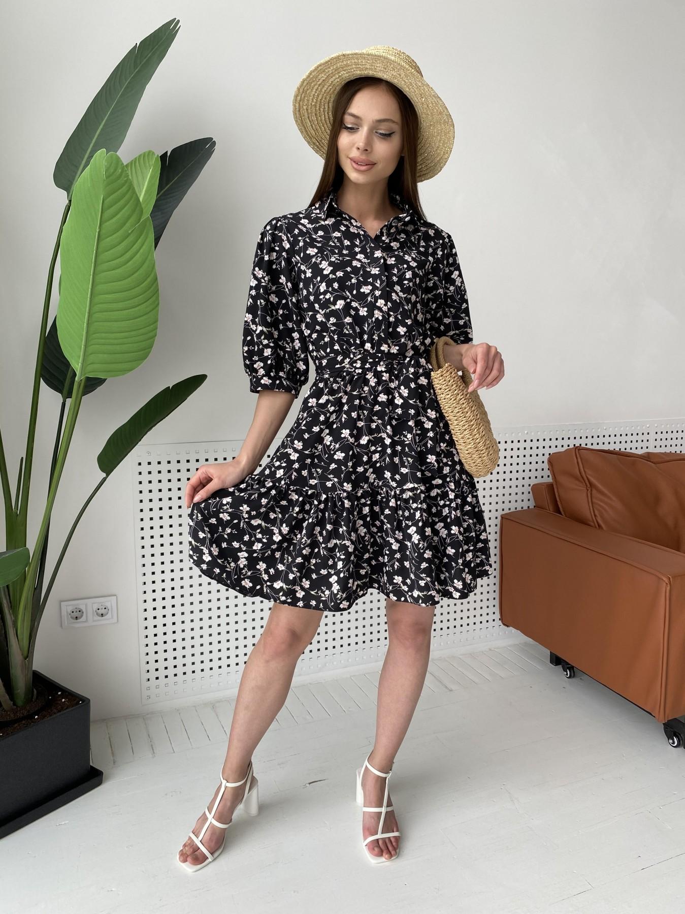 Молизе платье с коротким рукавом из софт ткани в принт 11315 АРТ. 47852 Цвет: Черный/молоко, Цветы - фото 9, интернет магазин tm-modus.ru