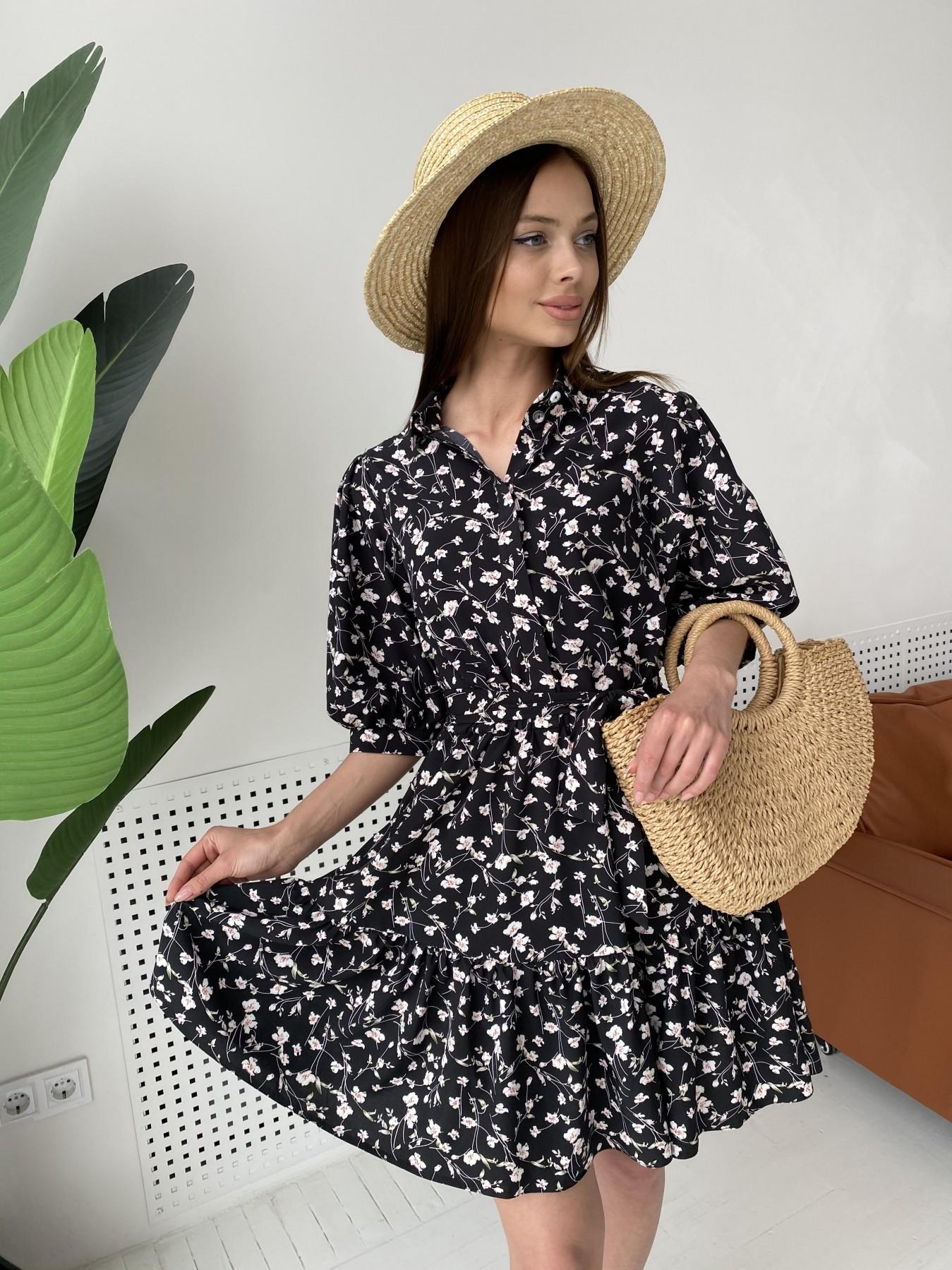 Молизе платье с коротким рукавом из софт ткани в принт 11315 АРТ. 47852 Цвет: Черный/молоко, Цветы - фото 10, интернет магазин tm-modus.ru