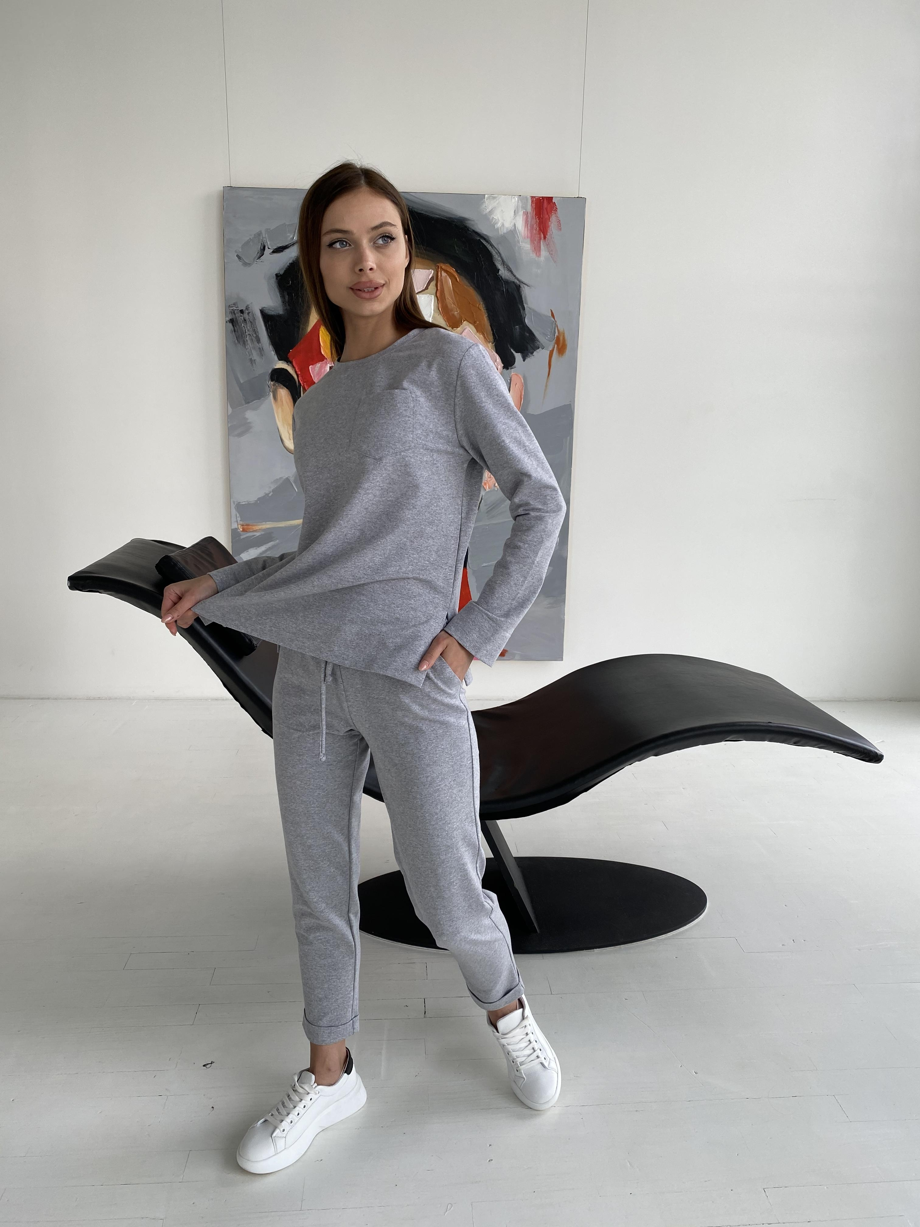 Мови  прогулочный костюм из трикотажа двунитка  9546 АРТ. 46279 Цвет: св.серый меланж - фото 3, интернет магазин tm-modus.ru