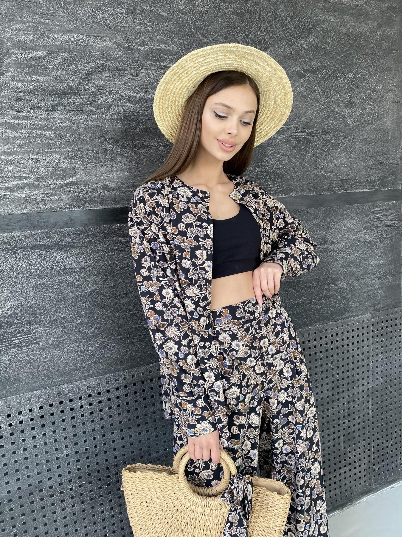 Колибри костюм софт с принтом 11244 АРТ. 47841 Цвет: Черный/т. беж, Цветы - фото 2, интернет магазин tm-modus.ru