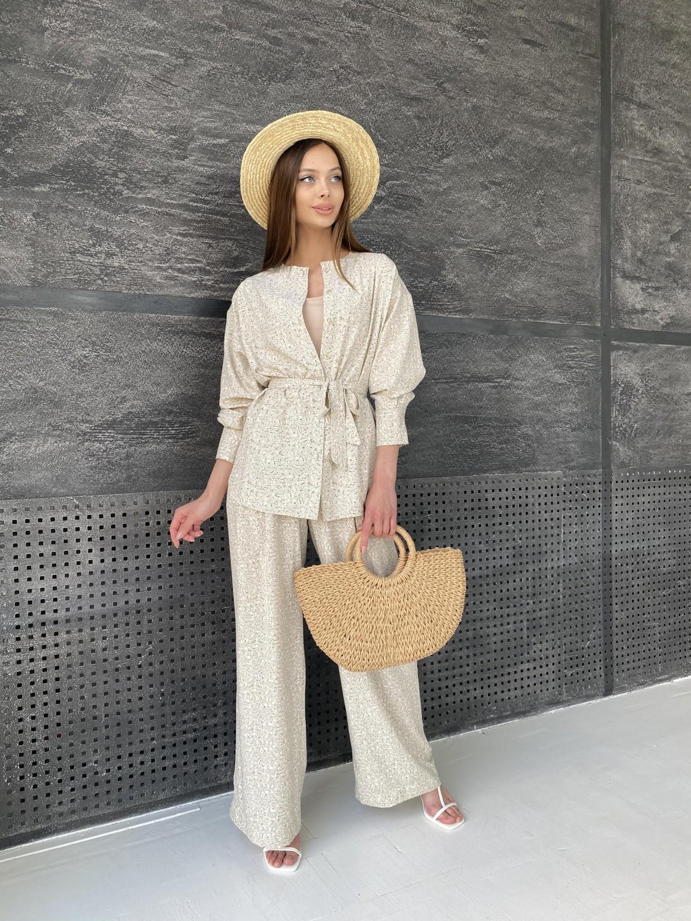 Колибри костюм софт с принтом 11244 АРТ. 47840 Цвет: Бежевый/Листик - фото 6, интернет магазин tm-modus.ru