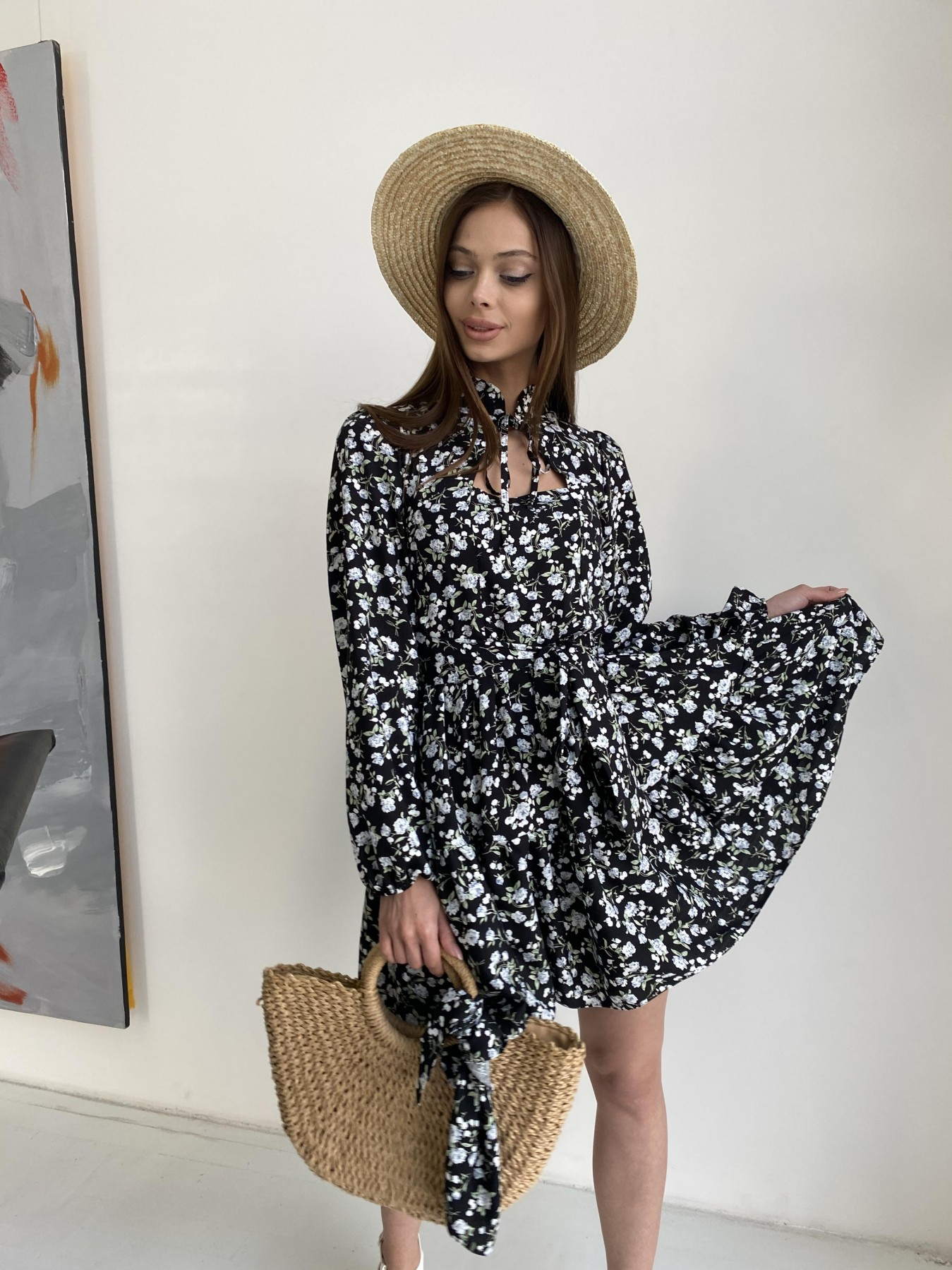 Марселла платье из вискозы и льна 11329 АРТ. 47882 Цвет: Черный/ГолубаяХризантема - фото 2, интернет магазин tm-modus.ru