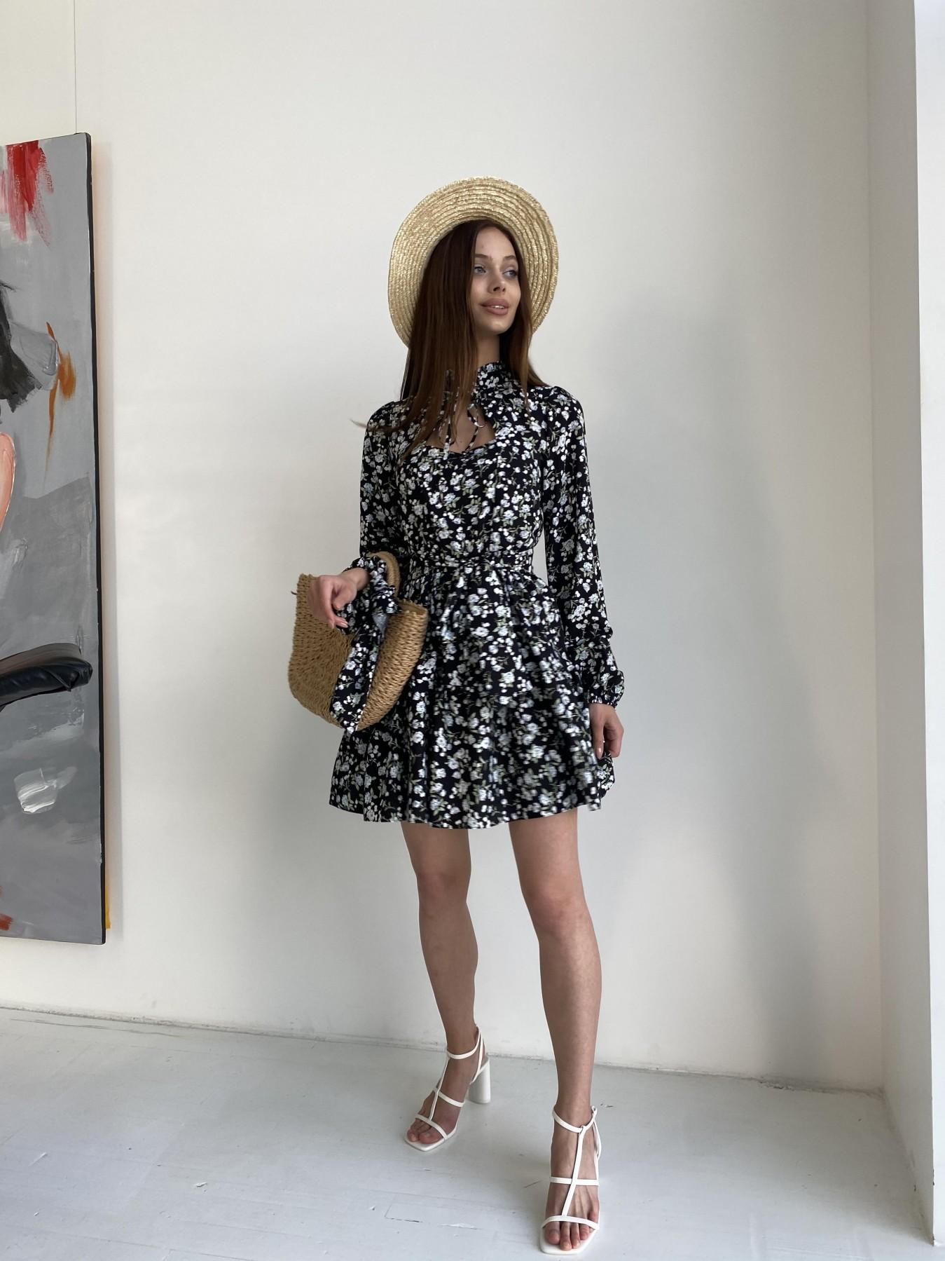 Марселла платье из вискозы и льна 11329 АРТ. 47882 Цвет: Черный/ГолубаяХризантема - фото 3, интернет магазин tm-modus.ru
