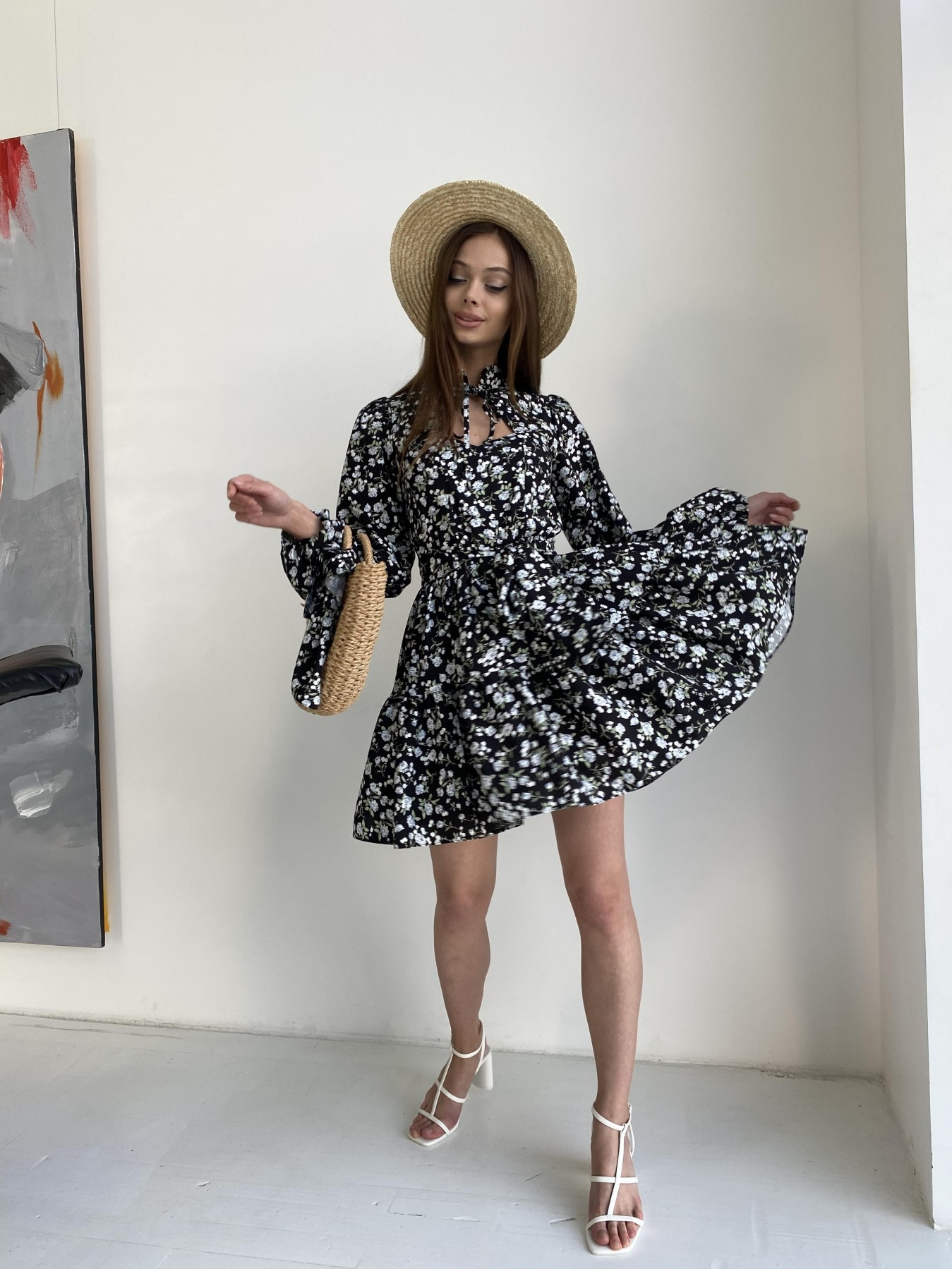 Марселла платье из вискозы и льна 11329 АРТ. 47882 Цвет: Черный/ГолубаяХризантема - фото 4, интернет магазин tm-modus.ru