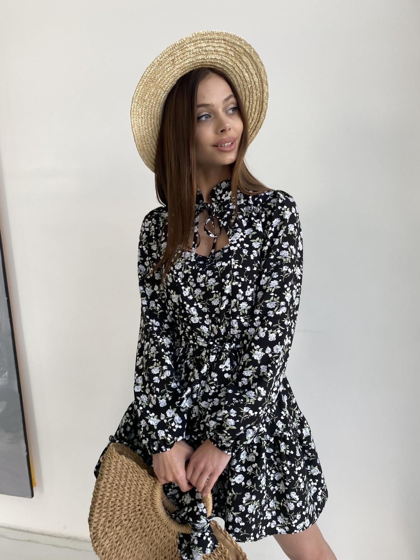 Марселла платье из вискозы и льна 11329 АРТ. 47882 Цвет: Черный/ГолубаяХризантема - фото 5, интернет магазин tm-modus.ru