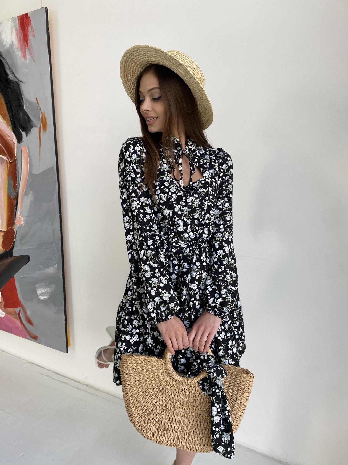 Марселла платье из вискозы и льна 11329 АРТ. 47882 Цвет: Черный/ГолубаяХризантема - фото 6, интернет магазин tm-modus.ru