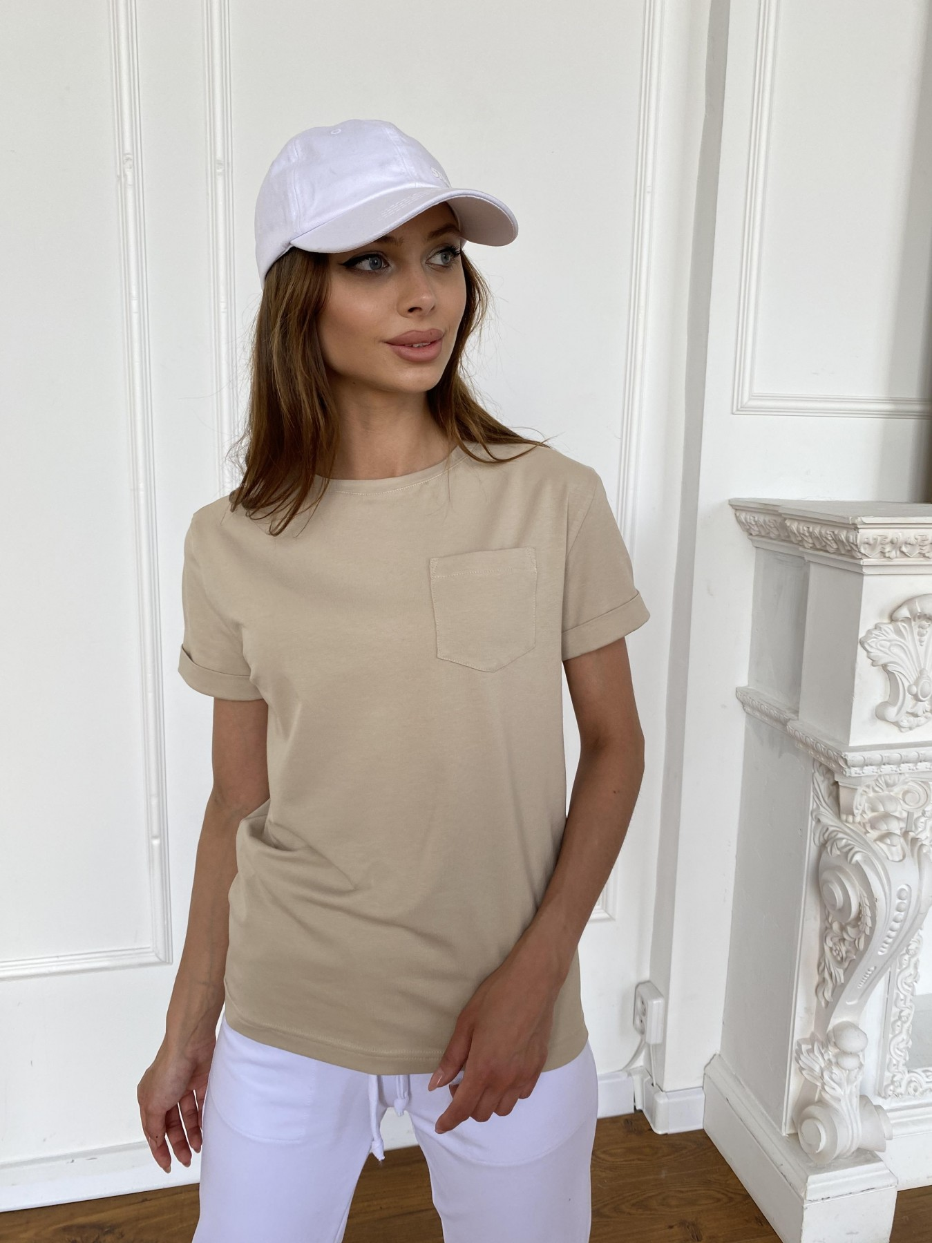 Вуди футболка из вискозы 11224 АРТ. 47877 Цвет: Бежевый - фото 1, интернет магазин tm-modus.ru