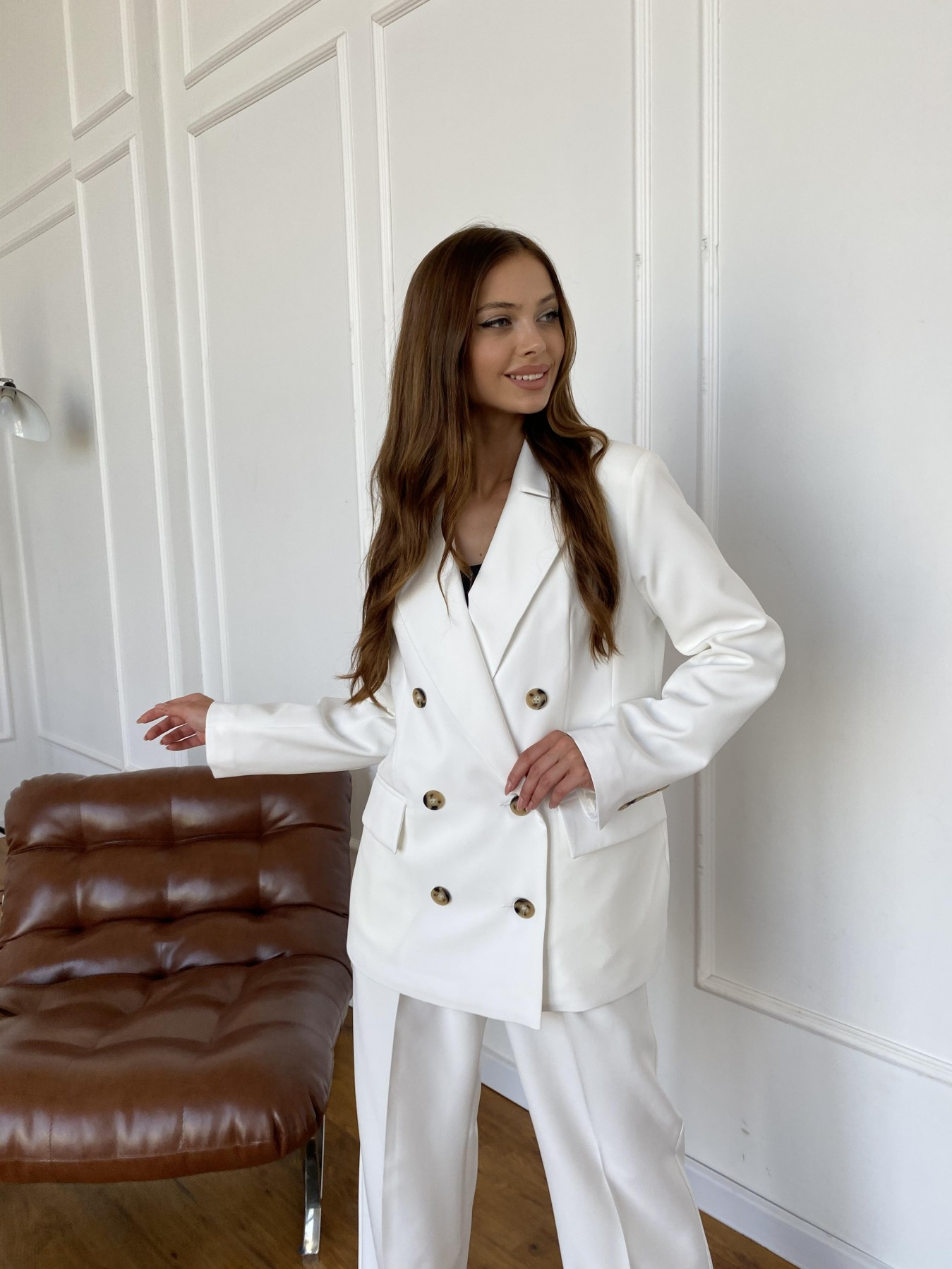 Белисимо  костюм стрейч из костюмной ткани 11217 АРТ. 47899 Цвет: Молоко 1 - фото 6, интернет магазин tm-modus.ru