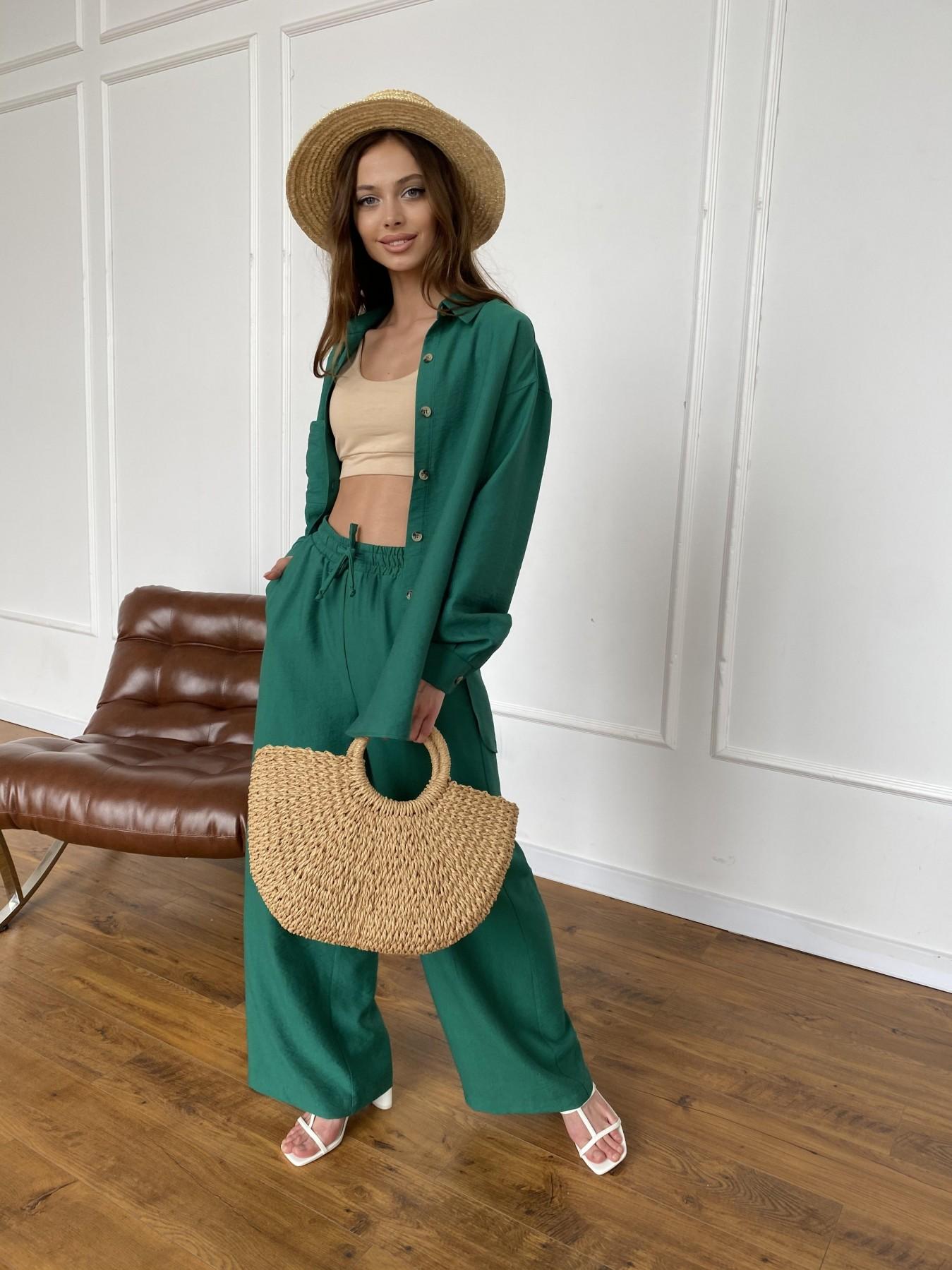 Дуэтто костюм из льна жатка не стрейч 11413 АРТ. 47961 Цвет: Зеленый - фото 2, интернет магазин tm-modus.ru