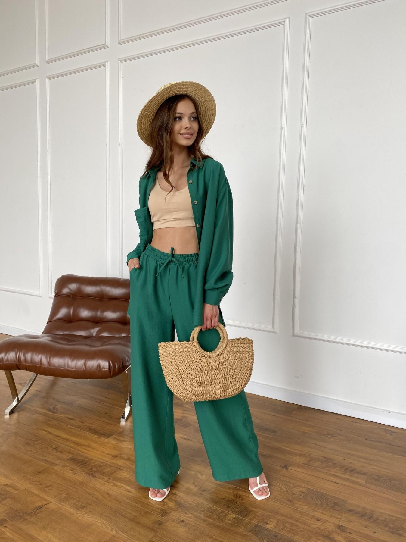 Дуэтто костюм из льна жатка не стрейч 11413 АРТ. 47961 Цвет: Зеленый - фото 4, интернет магазин tm-modus.ru