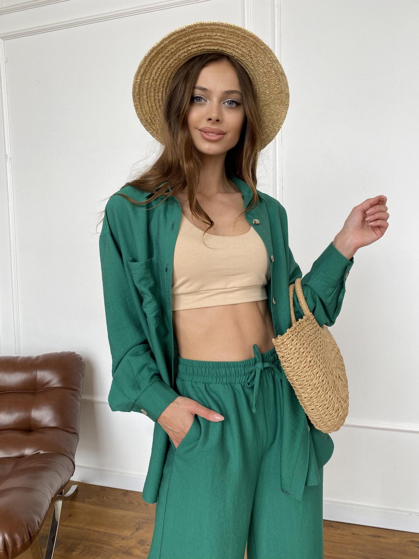 Дуэтто костюм из льна жатка не стрейч 11413 АРТ. 47961 Цвет: Зеленый - фото 5, интернет магазин tm-modus.ru