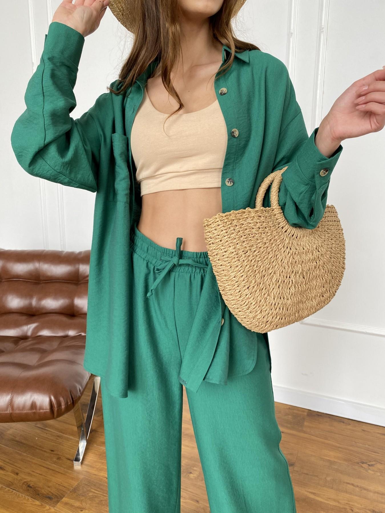 Дуэтто костюм из льна жатка не стрейч 11413 АРТ. 47961 Цвет: Зеленый - фото 6, интернет магазин tm-modus.ru
