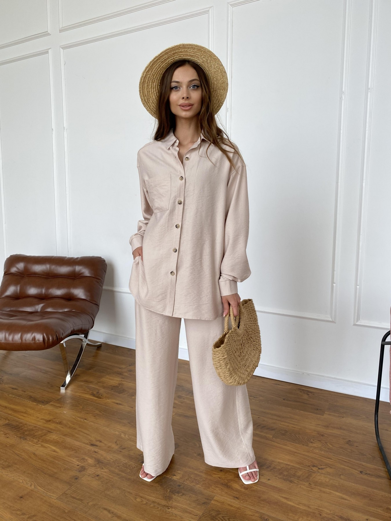 Женская одежда оптом Украина Modus Дуэтто костюм из льна жатка не стрейч 11413
