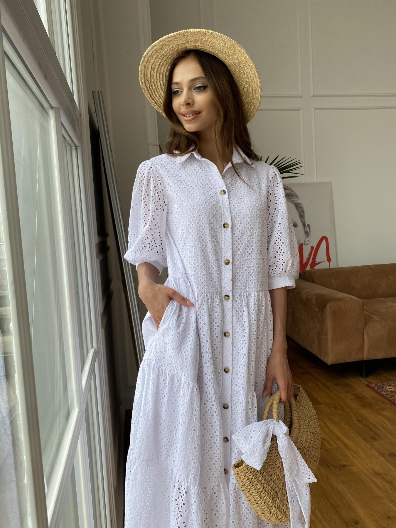 Коста Бланка платье с коротким рукавом из прошвы 11359 АРТ. 47966 Цвет: Белый/МелЦветПерфор - фото 2, интернет магазин tm-modus.ru