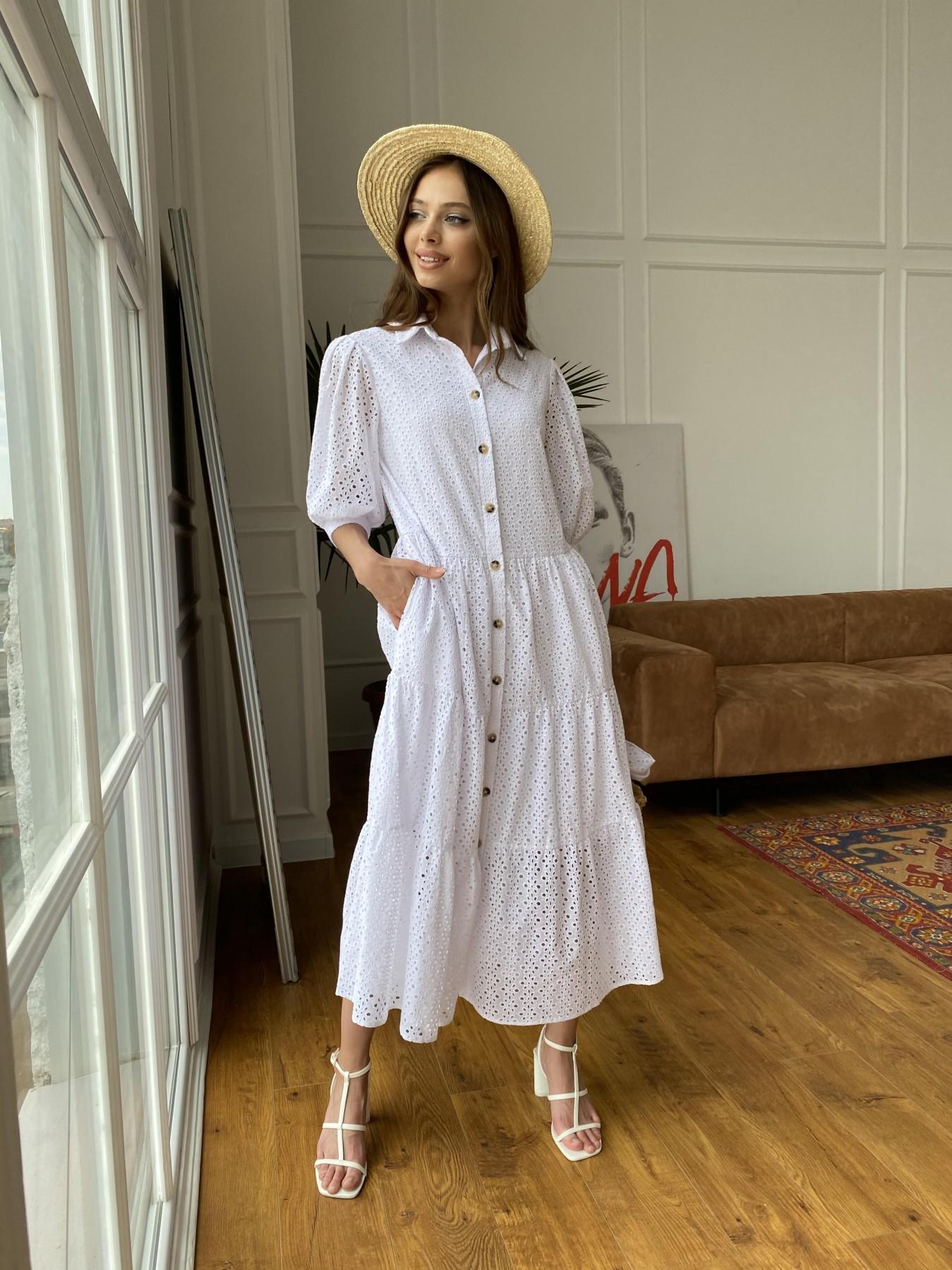 Коста Бланка платье с коротким рукавом из прошвы 11359 АРТ. 47966 Цвет: Белый/МелЦветПерфор - фото 3, интернет магазин tm-modus.ru