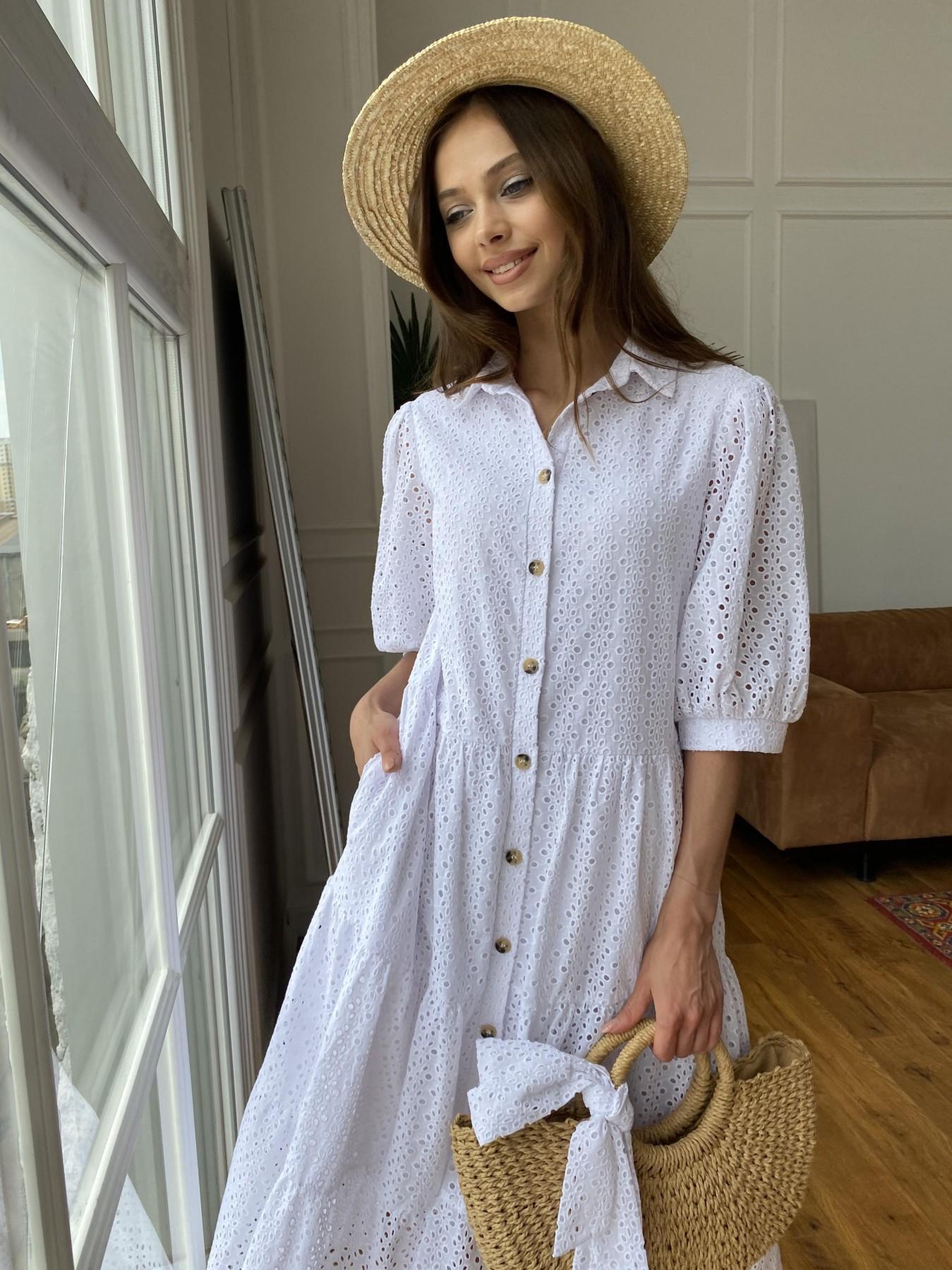 Коста Бланка платье с коротким рукавом из прошвы 11359 АРТ. 47966 Цвет: Белый/МелЦветПерфор - фото 4, интернет магазин tm-modus.ru