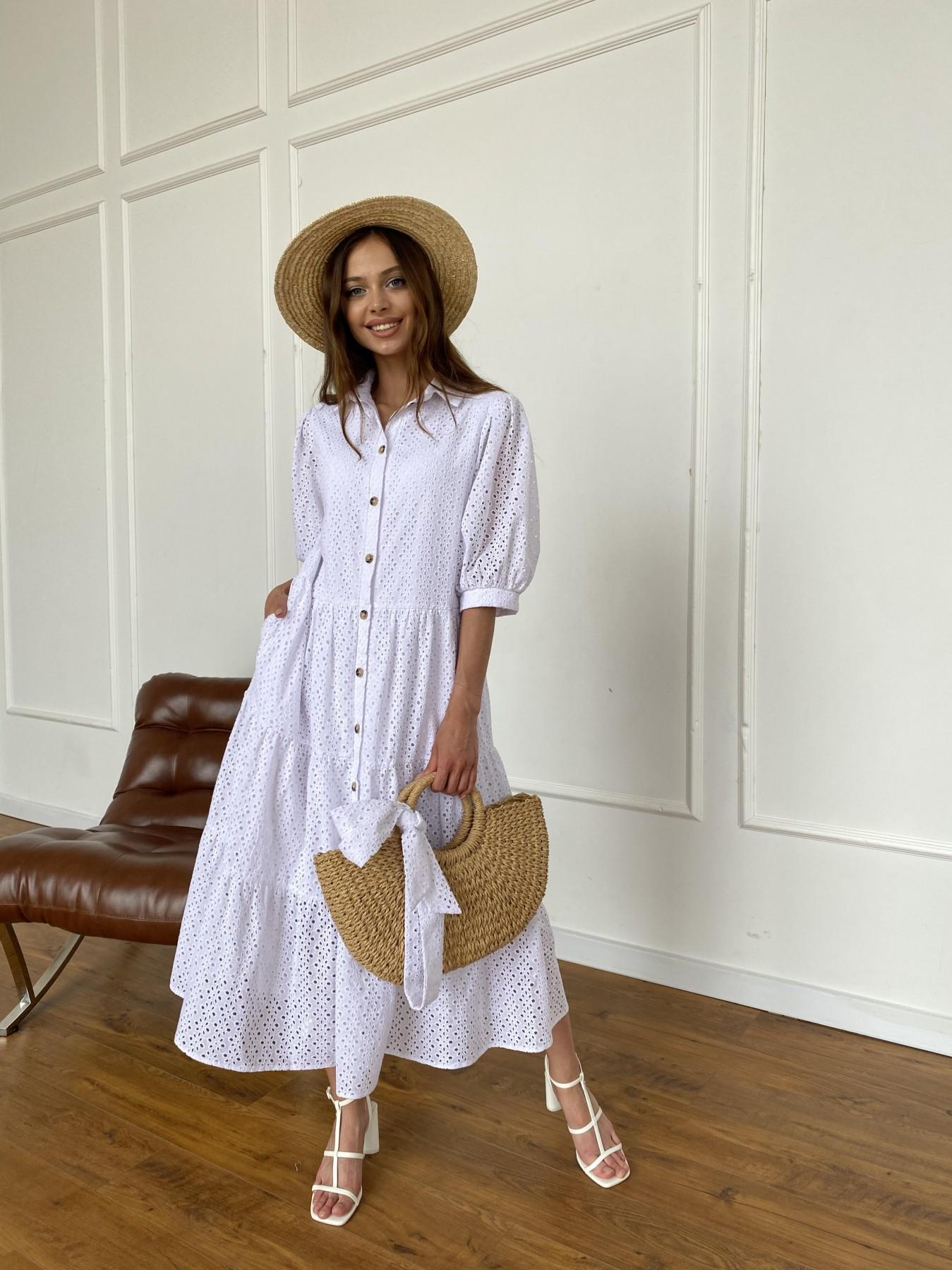 Коста Бланка платье с коротким рукавом из прошвы 11359 АРТ. 47966 Цвет: Белый/МелЦветПерфор - фото 5, интернет магазин tm-modus.ru