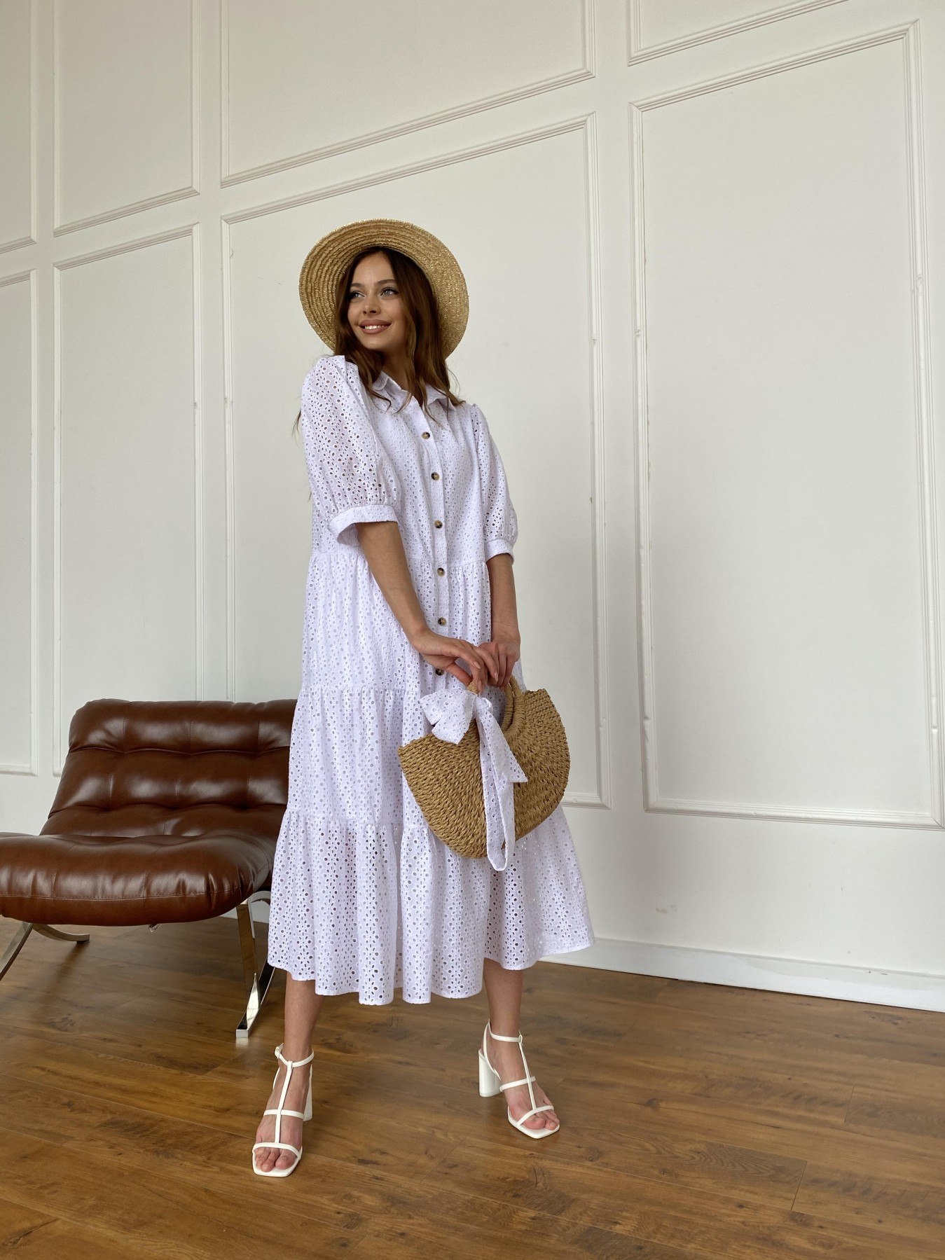 Коста Бланка платье с коротким рукавом из прошвы 11359 АРТ. 47966 Цвет: Белый/МелЦветПерфор - фото 7, интернет магазин tm-modus.ru