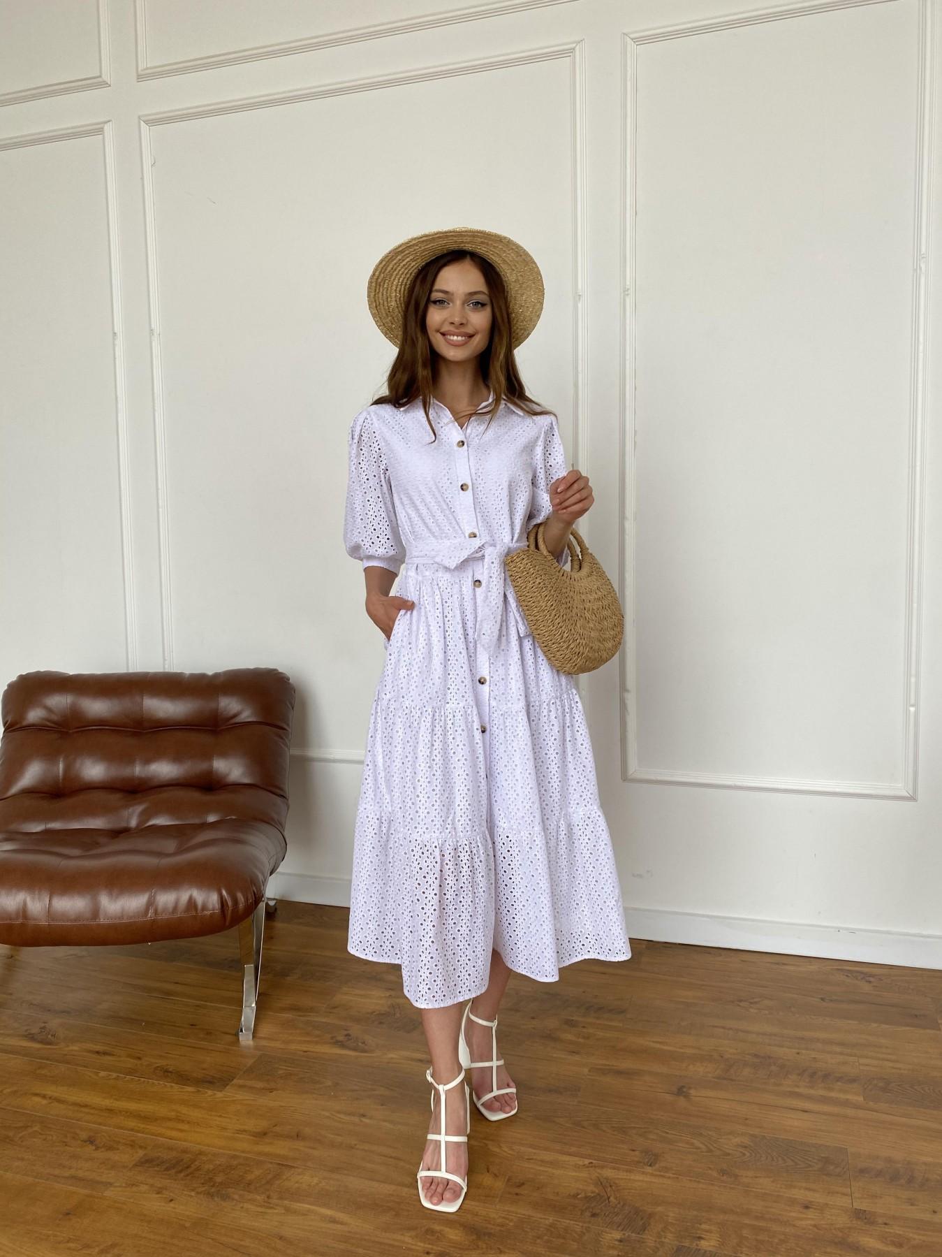 Коста Бланка платье с коротким рукавом из прошвы 11359 АРТ. 47966 Цвет: Белый/МелЦветПерфор - фото 8, интернет магазин tm-modus.ru