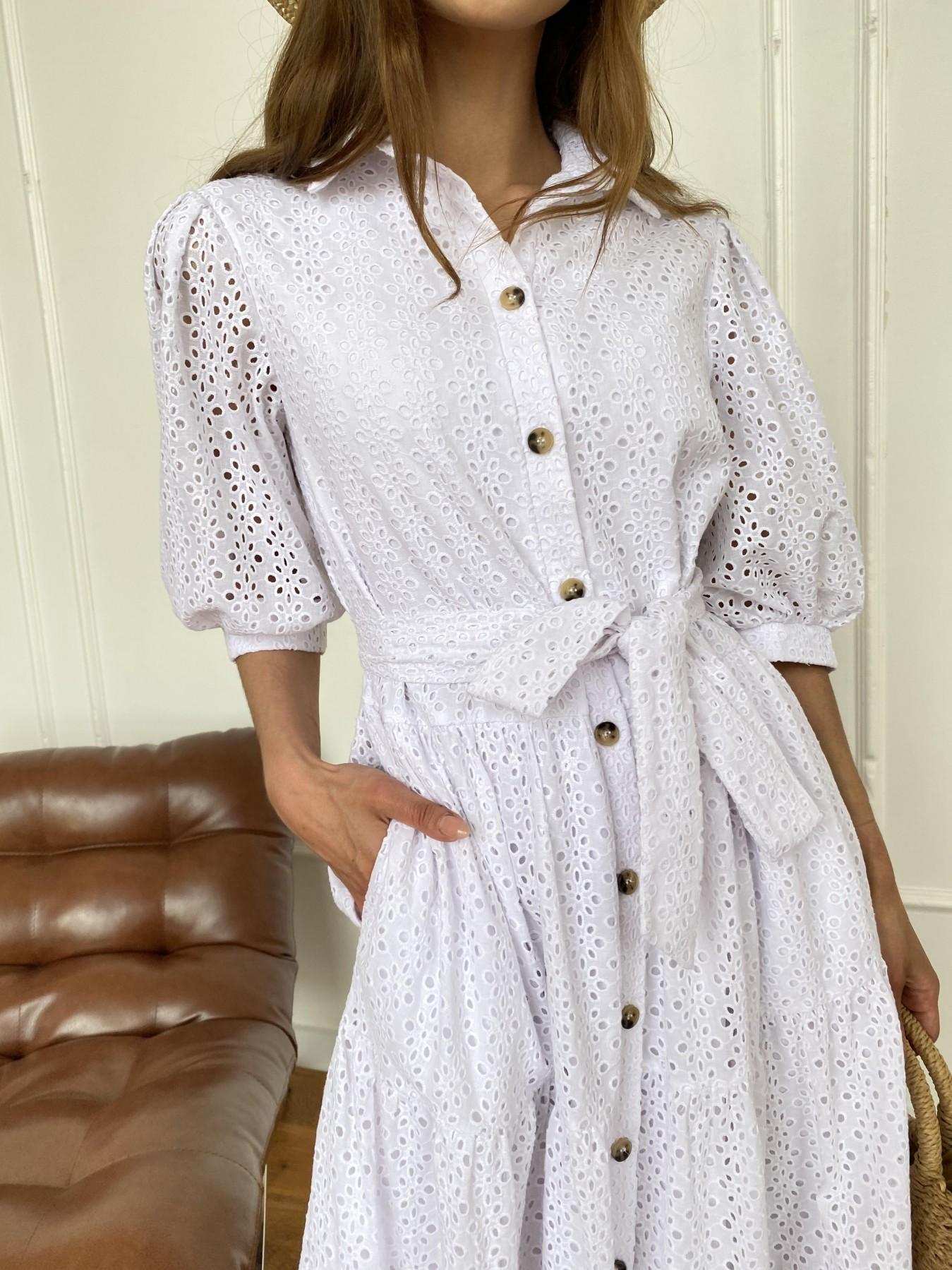 Коста Бланка платье с коротким рукавом из прошвы 11359 АРТ. 47966 Цвет: Белый/МелЦветПерфор - фото 9, интернет магазин tm-modus.ru