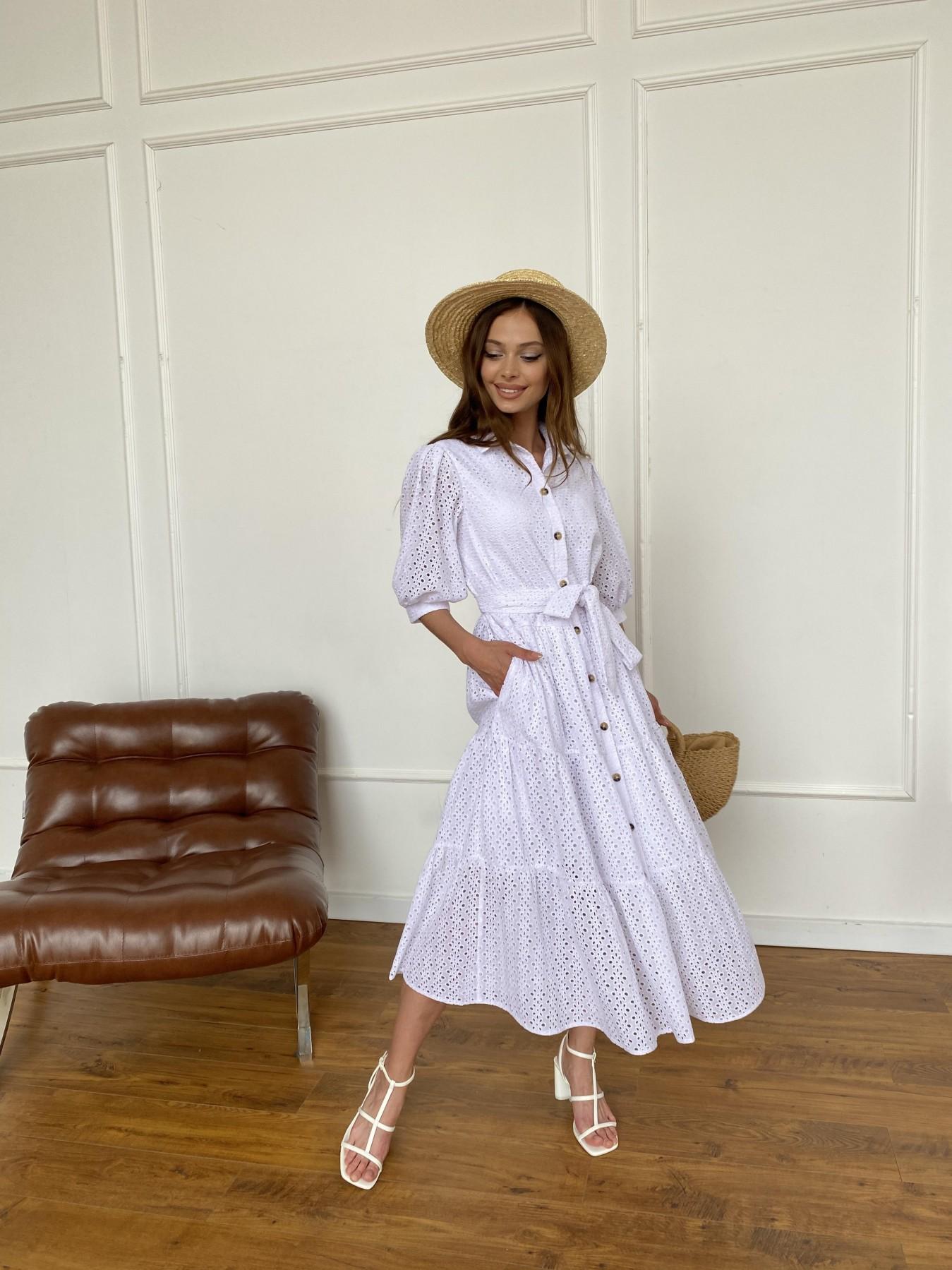 Коста Бланка платье с коротким рукавом из прошвы 11359 АРТ. 47966 Цвет: Белый/МелЦветПерфор - фото 10, интернет магазин tm-modus.ru
