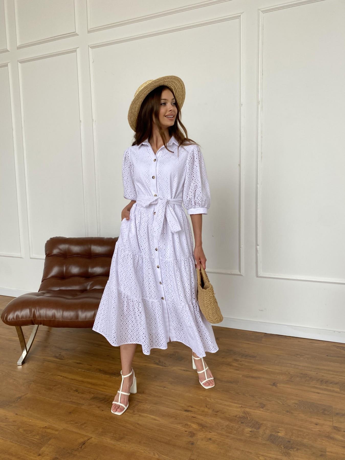 Коста Бланка платье с коротким рукавом из прошвы 11359 АРТ. 47966 Цвет: Белый/МелЦветПерфор - фото 12, интернет магазин tm-modus.ru