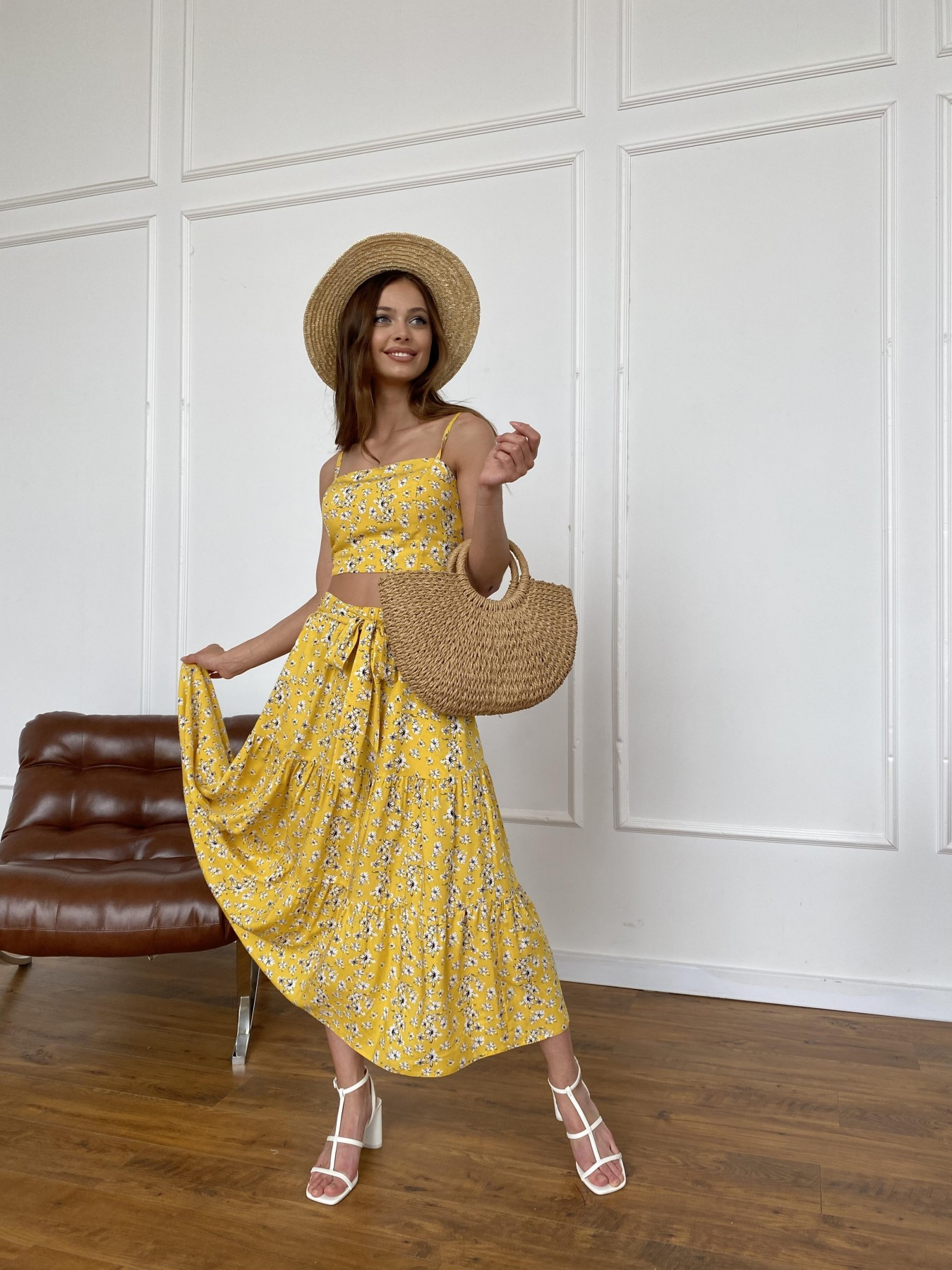Ницца костюм из штапеля с принтом 11412 АРТ. 47960 Цвет: Желтый/БелыеЦветочки - фото 4, интернет магазин tm-modus.ru