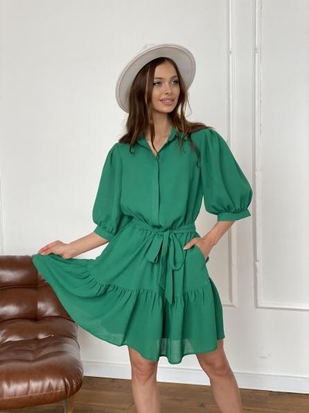 """Купить """"Молизе"""" платье с кротким рукавом из шифона лен  11391 оптом и в розницу"""