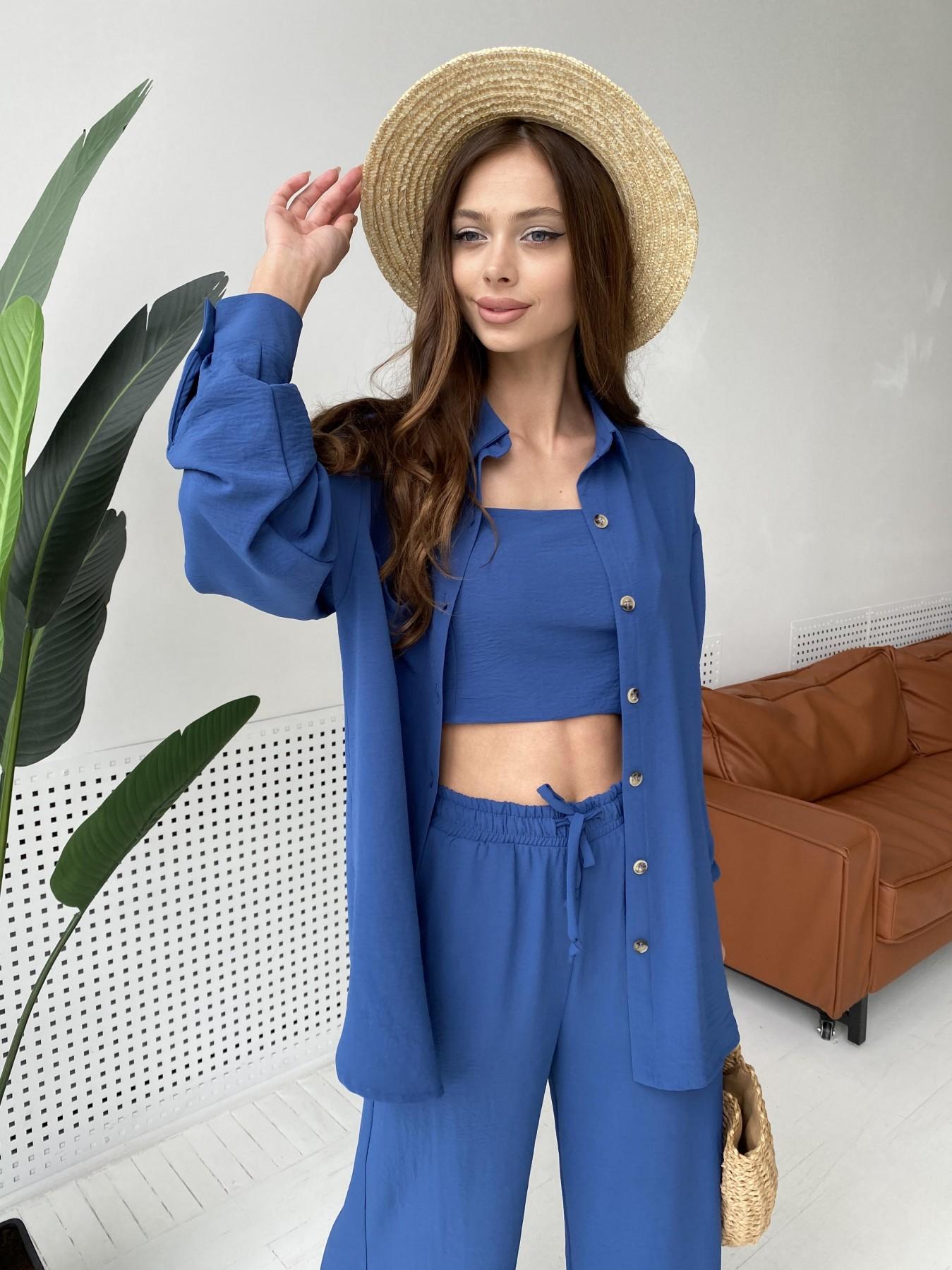 Квадро костюм американский из ткани креп (4 ед) 11303 АРТ. 47955 Цвет: Синий - фото 2, интернет магазин tm-modus.ru