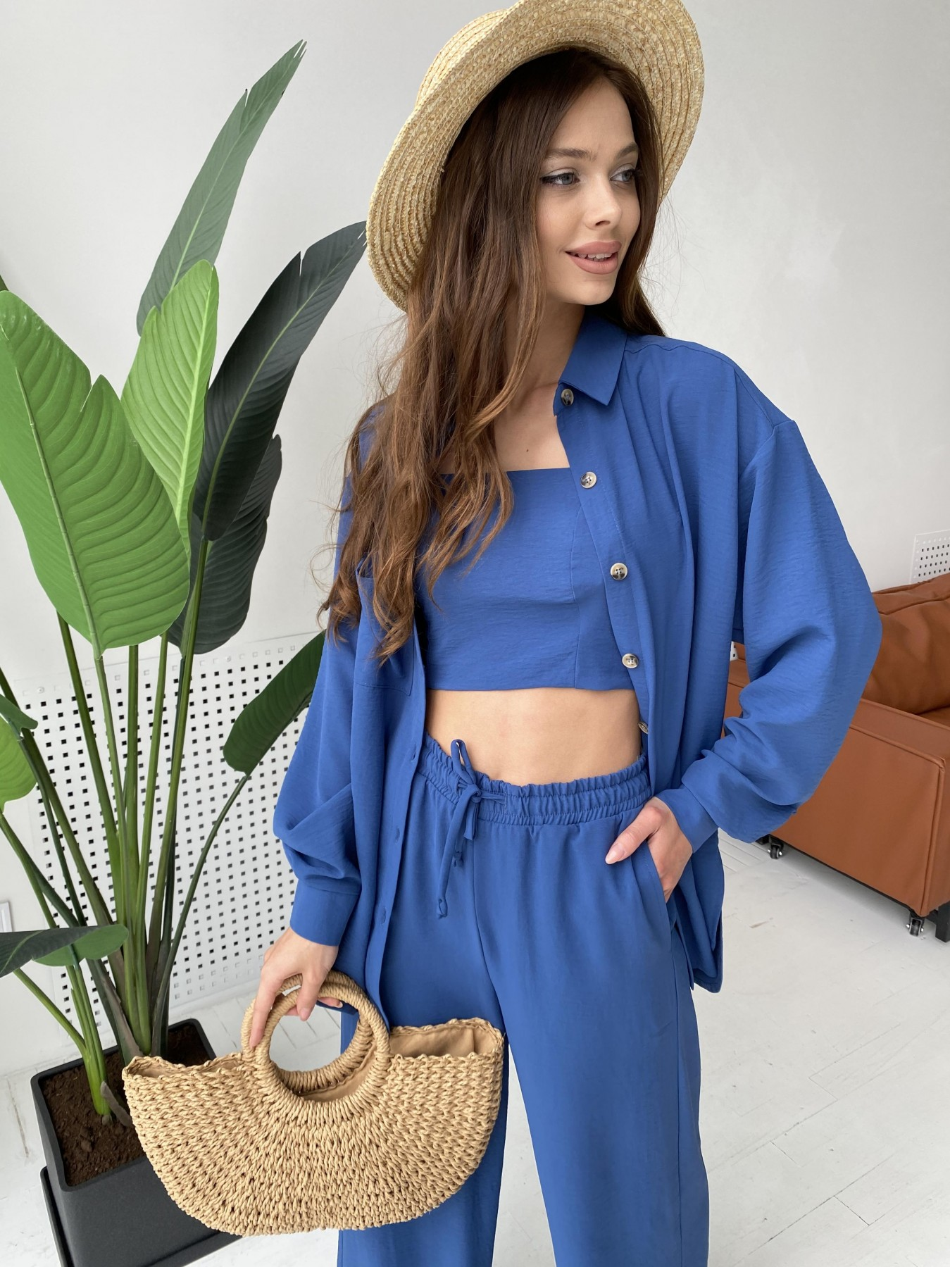 Квадро костюм американский из ткани креп (4 ед) 11303 АРТ. 47955 Цвет: Синий - фото 3, интернет магазин tm-modus.ru