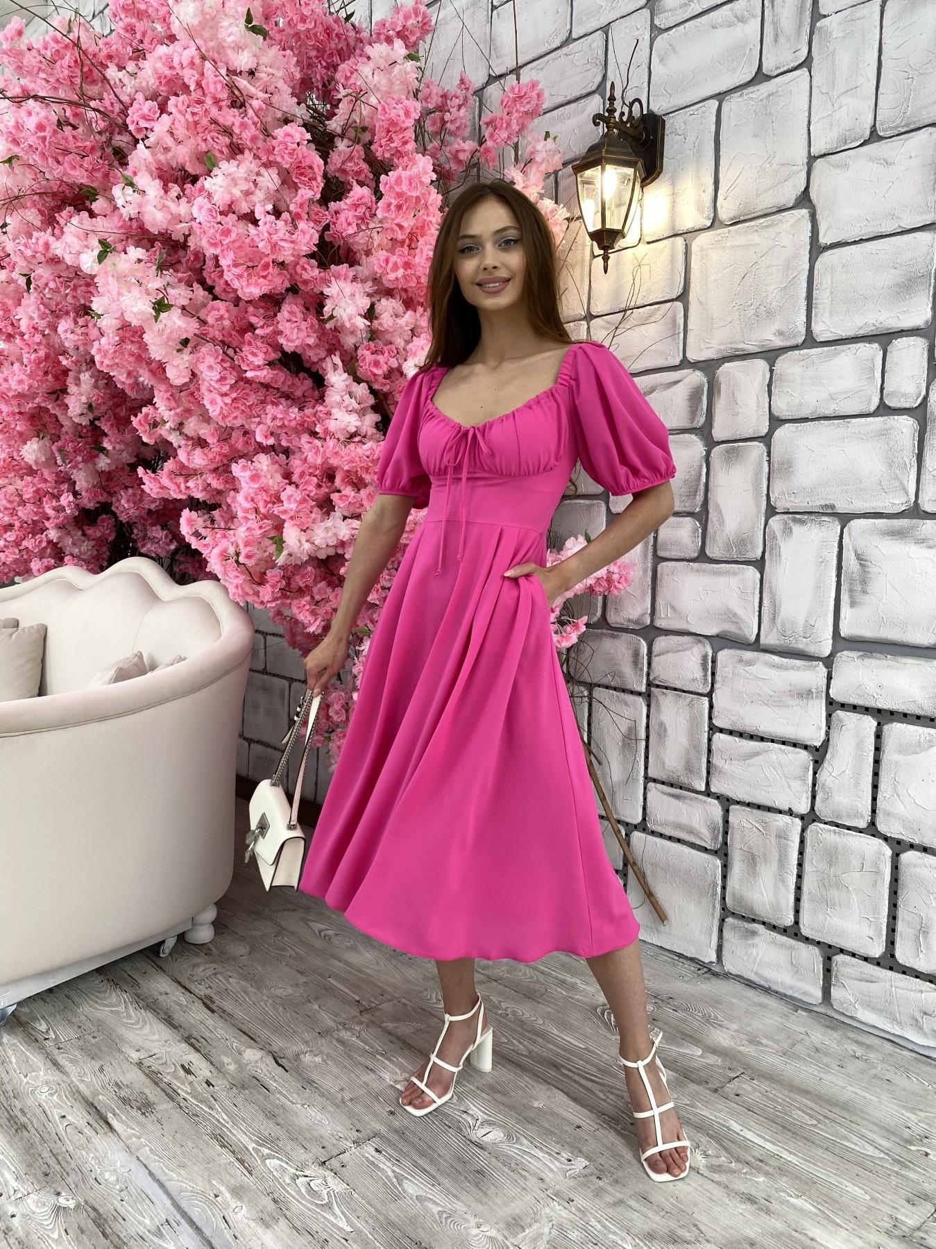 Кисес Миди платье из шифона креп 11443 АРТ. 48015 Цвет: Малиновый - фото 1, интернет магазин tm-modus.ru