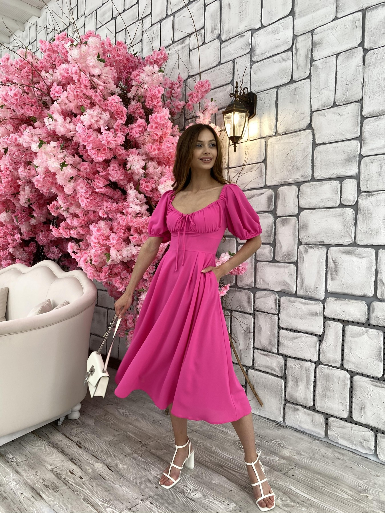 Кисес Миди платье из шифона креп 11443 АРТ. 48015 Цвет: Малиновый - фото 2, интернет магазин tm-modus.ru