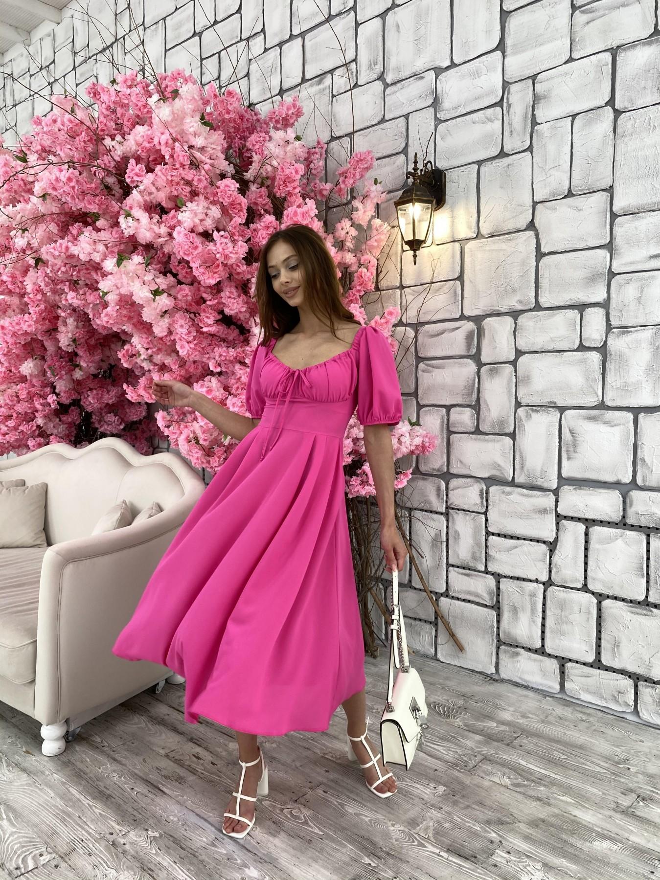 Кисес Миди платье из шифона креп 11443 АРТ. 48015 Цвет: Малиновый - фото 4, интернет магазин tm-modus.ru