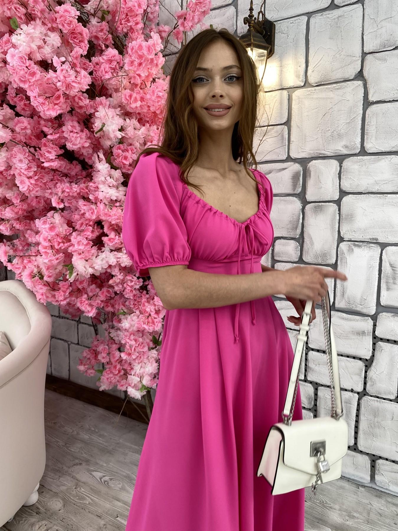 Кисес Миди платье из шифона креп 11443 АРТ. 48015 Цвет: Малиновый - фото 5, интернет магазин tm-modus.ru