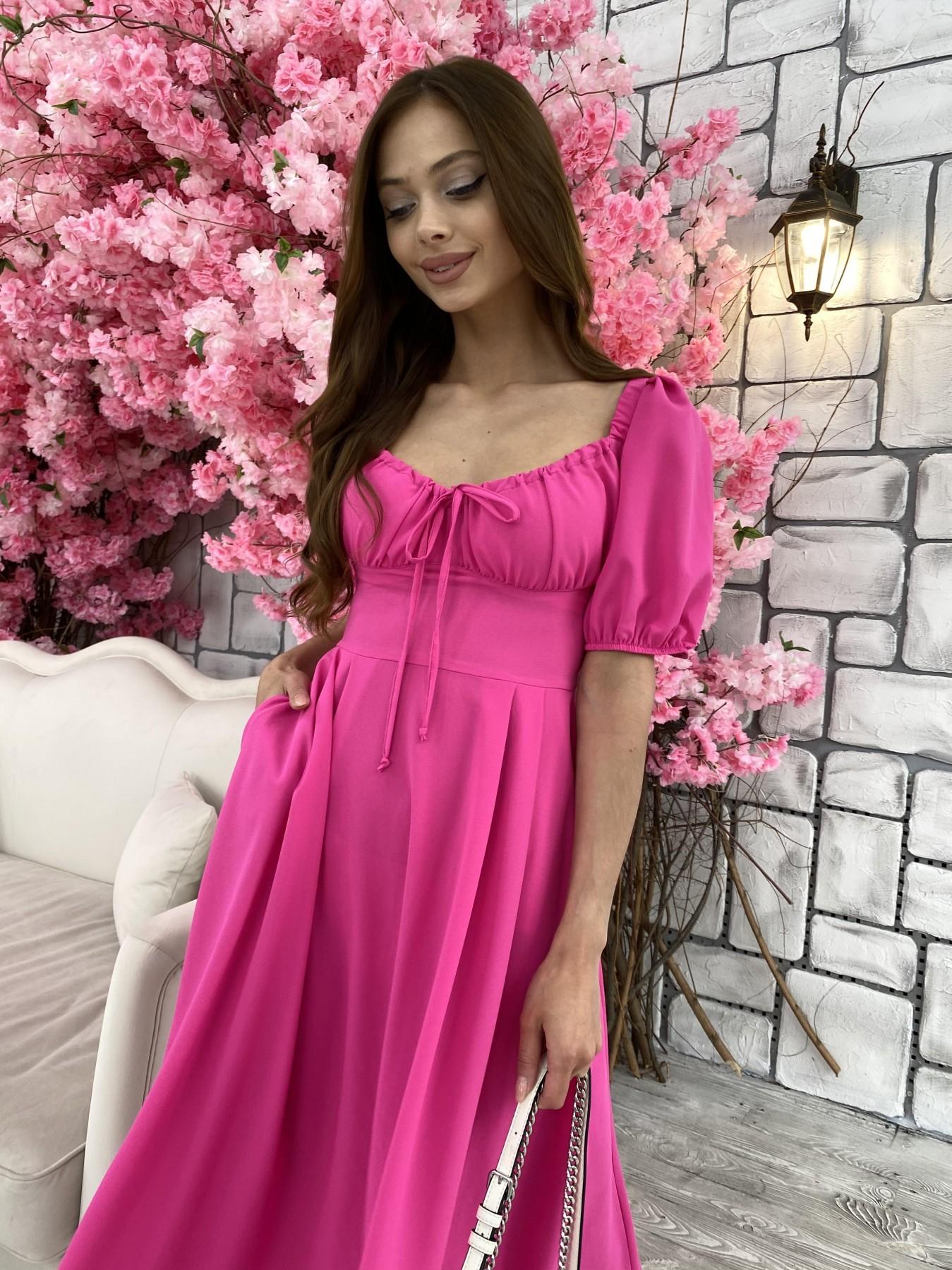 Кисес Миди платье из шифона креп 11443 АРТ. 48015 Цвет: Малиновый - фото 6, интернет магазин tm-modus.ru