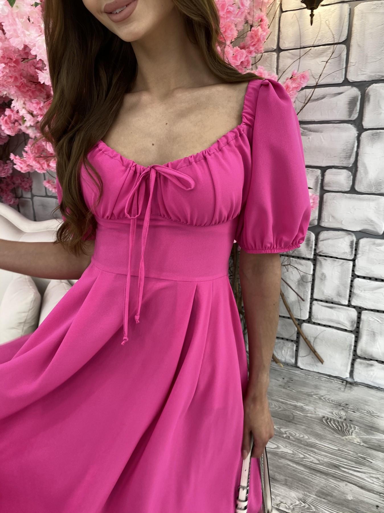 Кисес Миди платье из шифона креп 11443 АРТ. 48015 Цвет: Малиновый - фото 7, интернет магазин tm-modus.ru